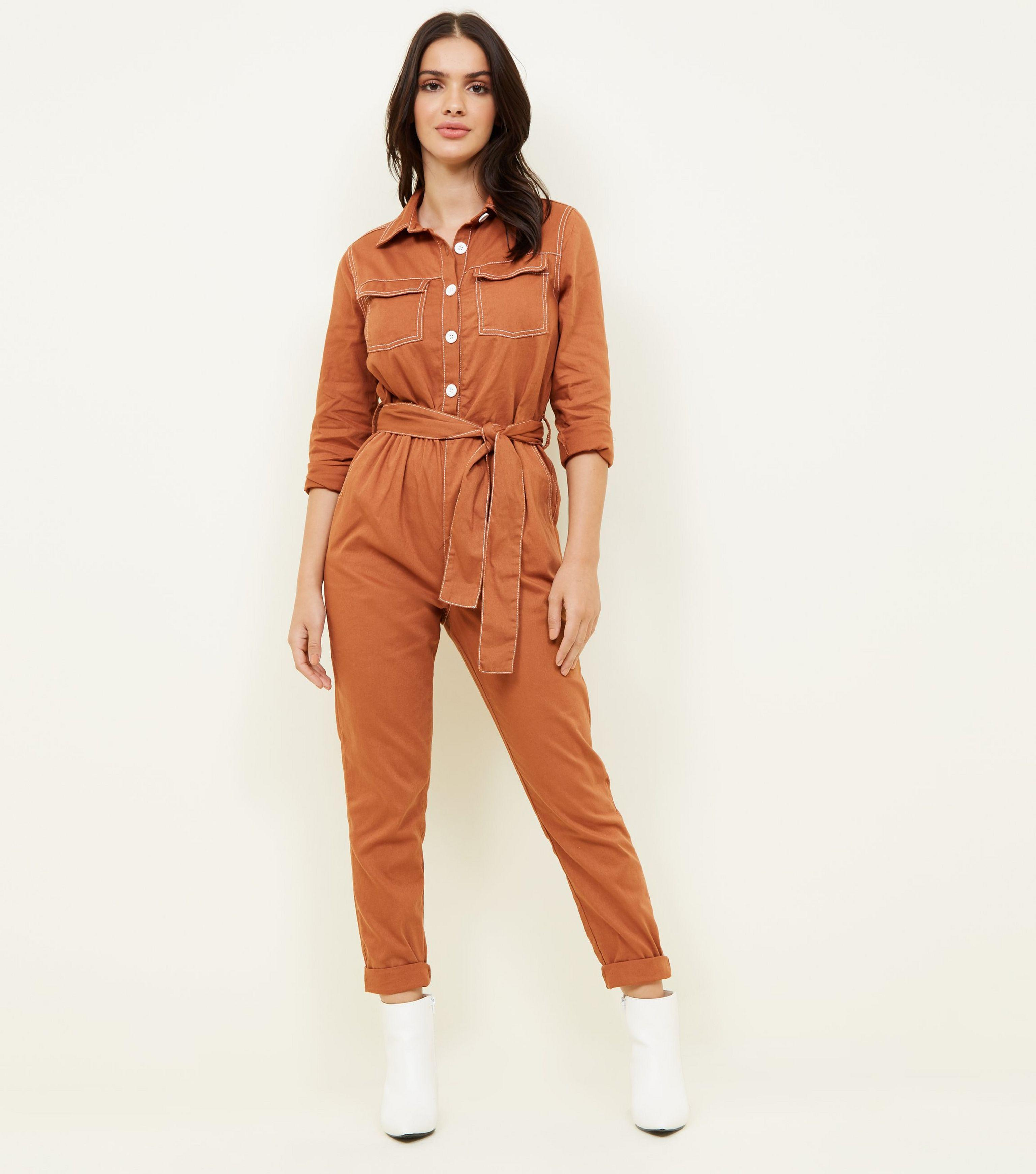 87ae86f057 New Look Rust Contrast Stitch Utility Boiler Jumpsuit - Lyst