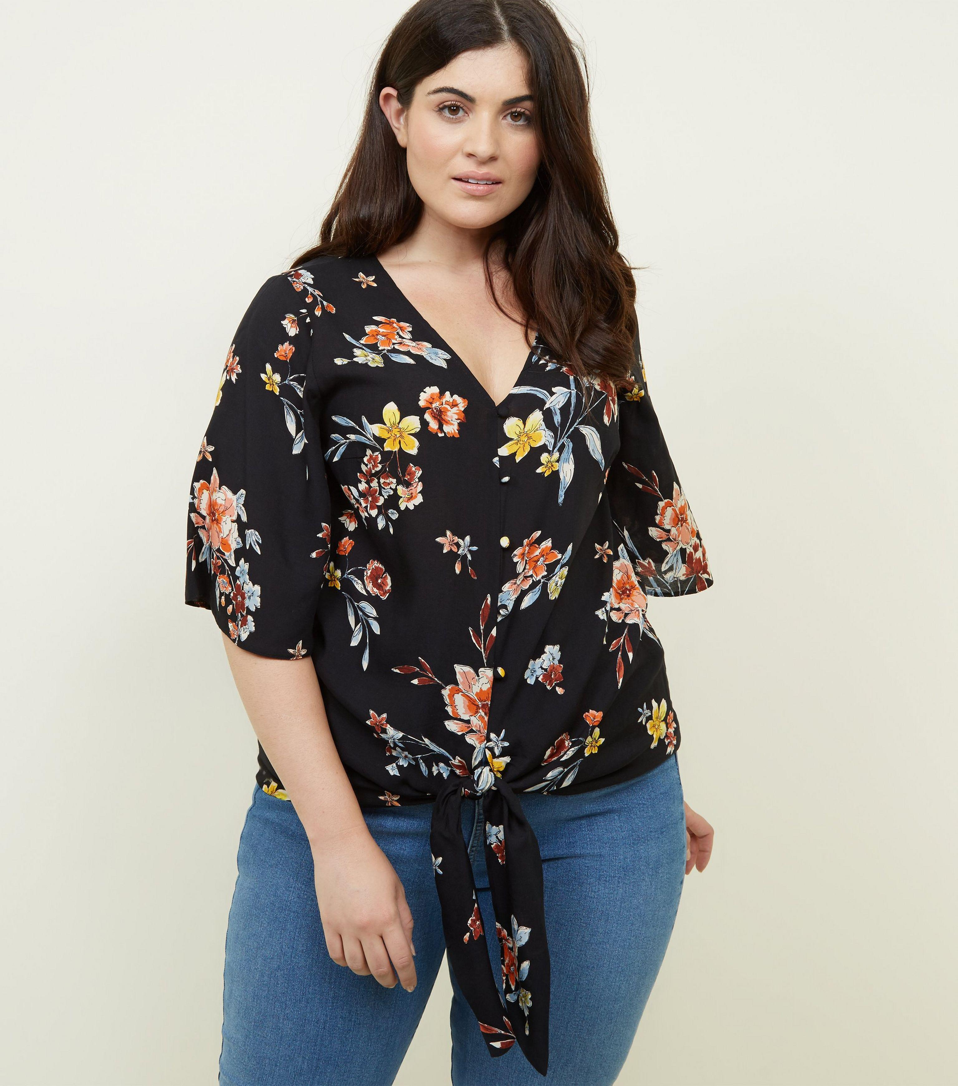 c520f4818245d New Look Curves Black Floral Button Tie Front Top in Black - Lyst