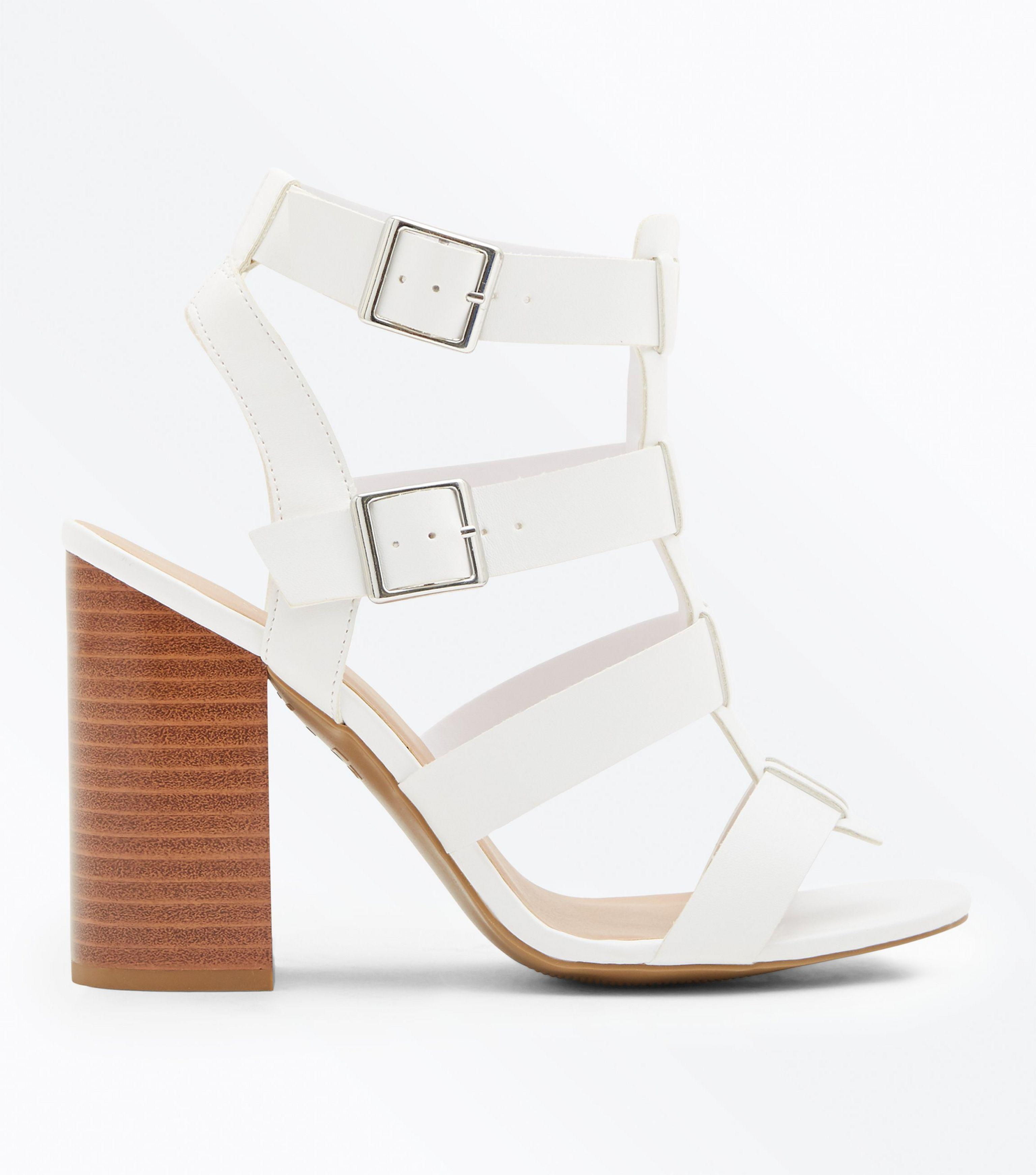 e7b400dfbb6 New Look White Wooden Block Heel Gladiator Sandals in White - Lyst
