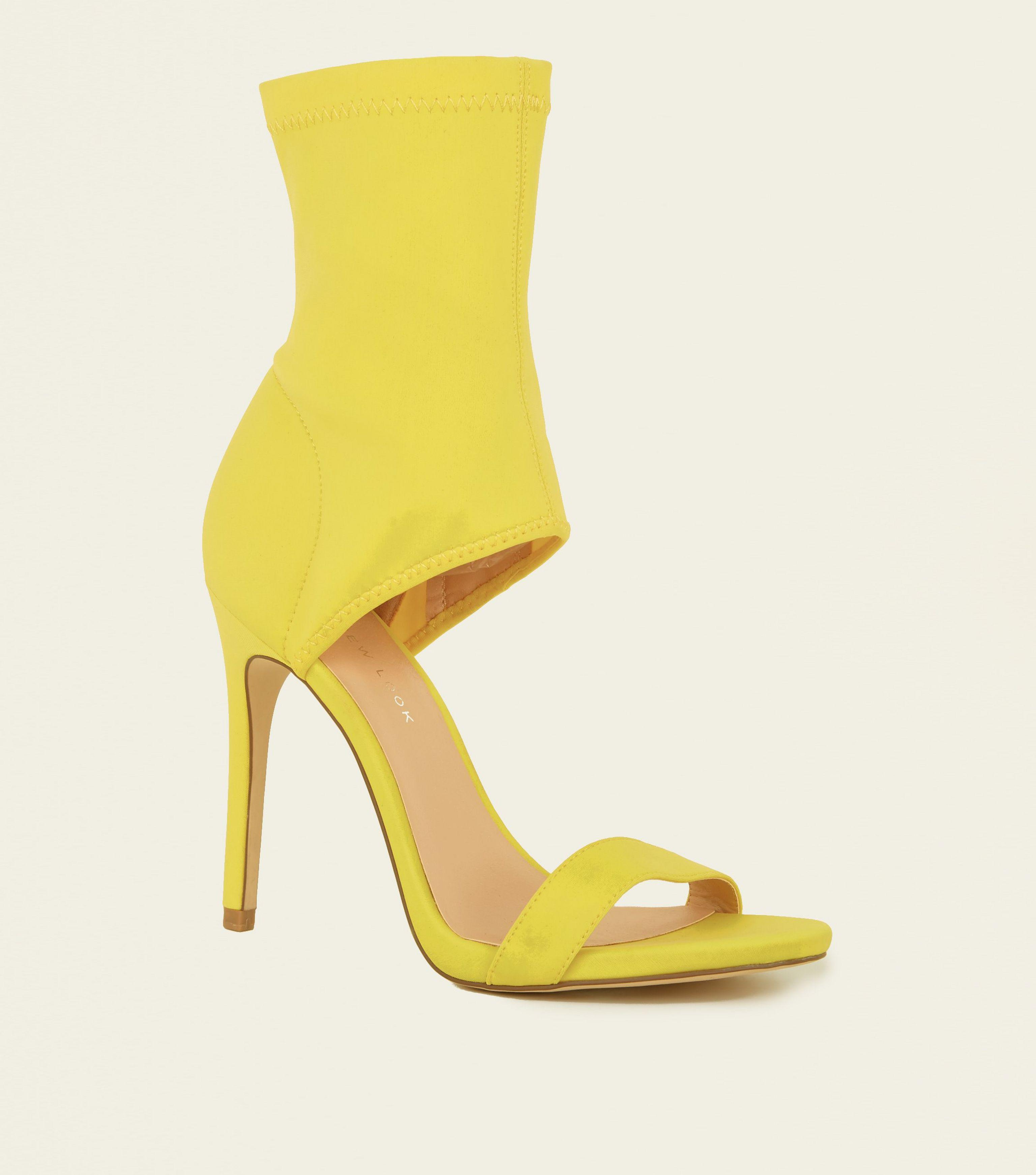 0a837011b04b New Look Yellow Scuba Ankle Strap Two Part Stiletto Sandals in ...