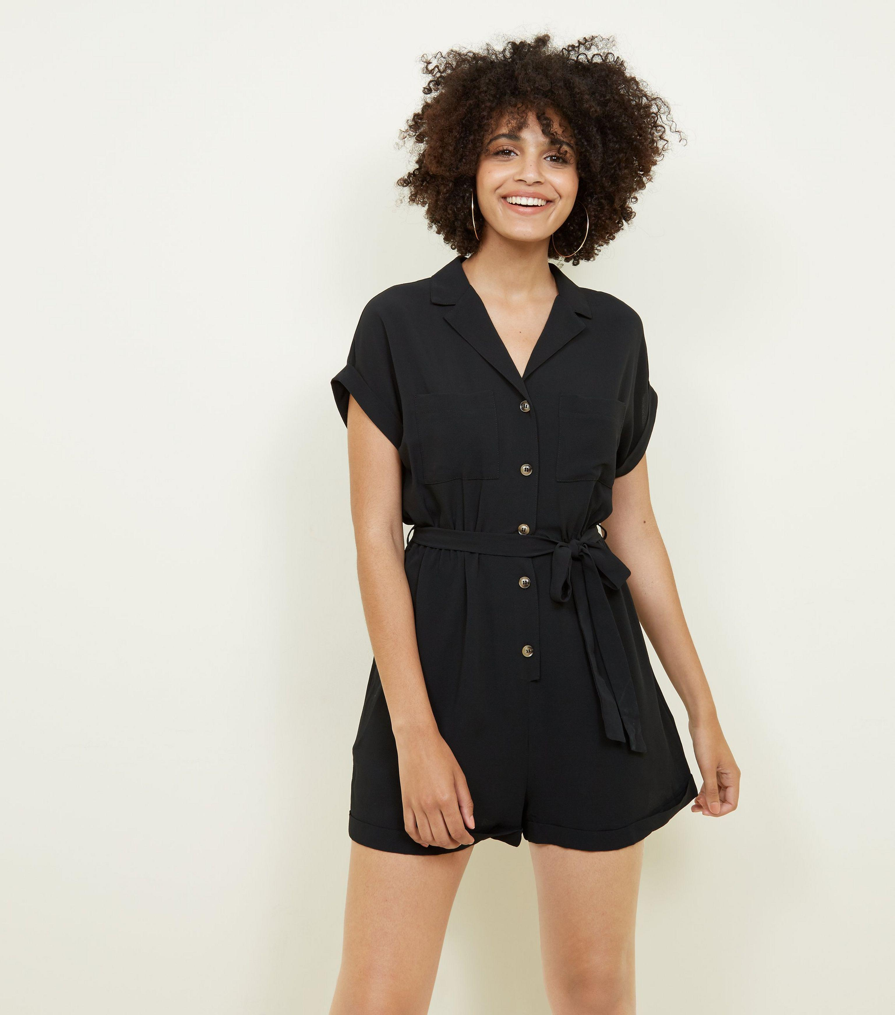 4e88b82d60 New Look Black Revere Collar Button Through Playsuit in Black - Lyst