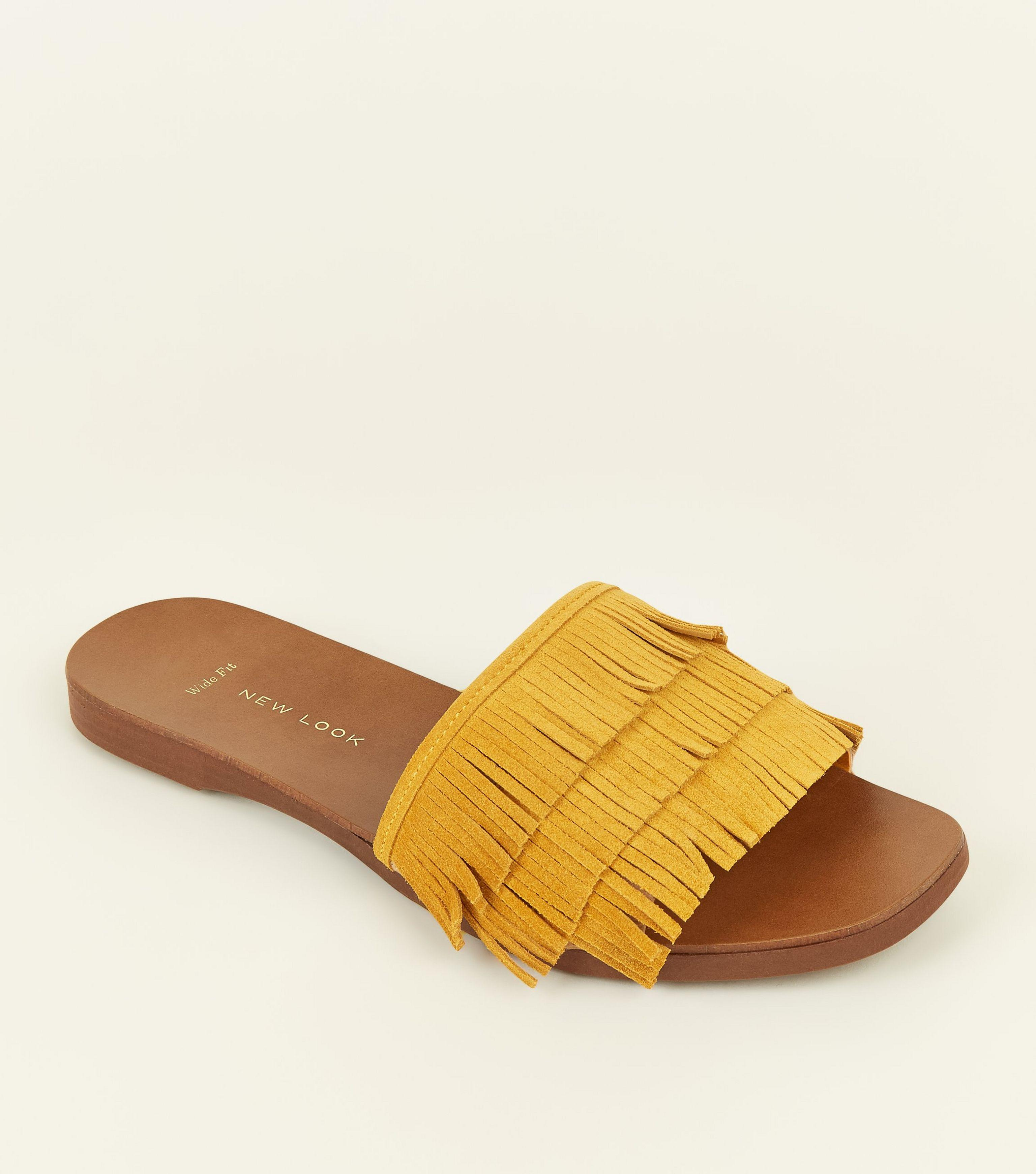 a1b6c7612af5 New Look Wide Fit Mustard Suede Fringed Sliders in Yellow - Lyst