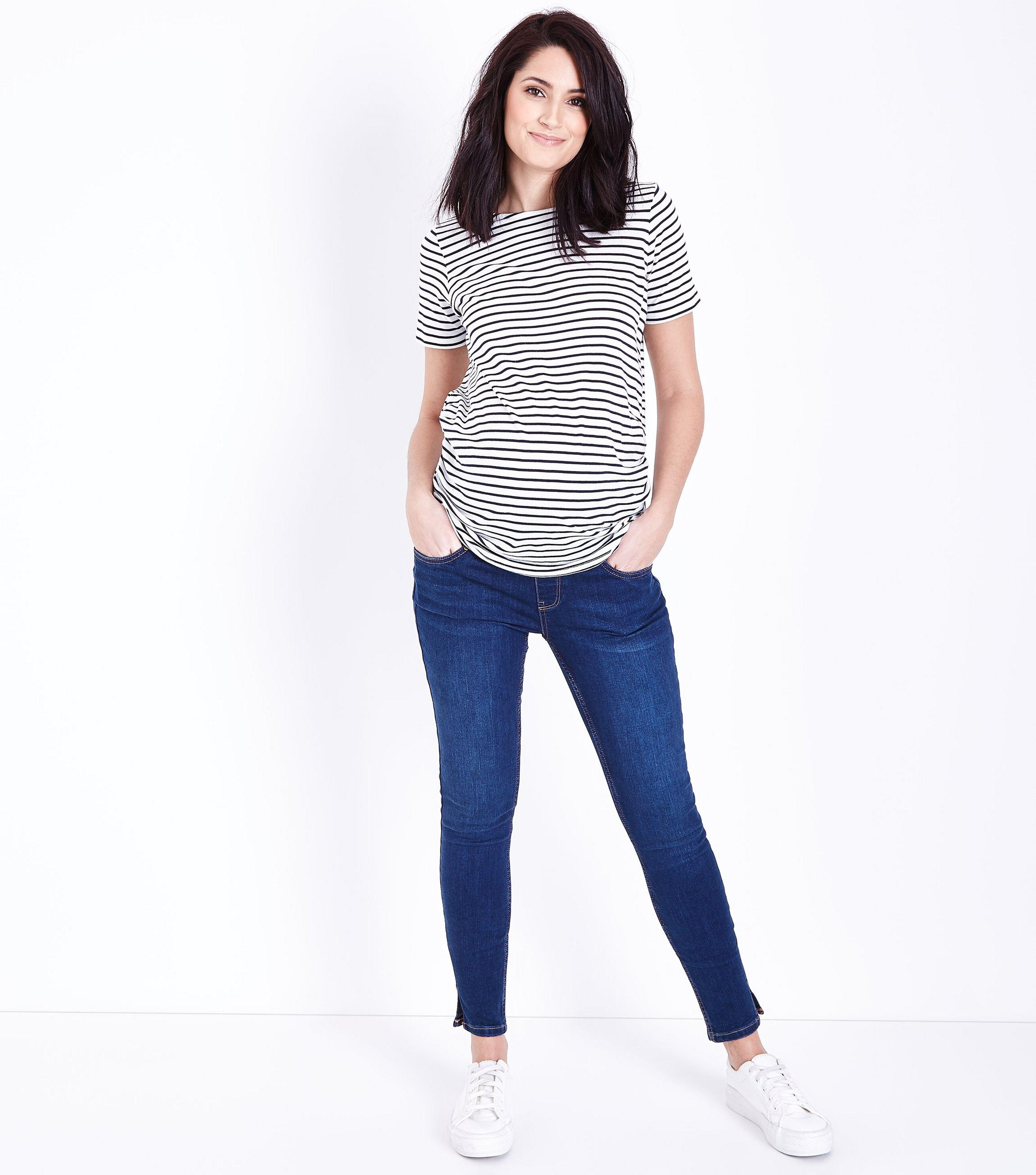 1257b040fcc73 New Look Maternity Blue Rinse Under Bump Skinny Jeans in Blue - Lyst