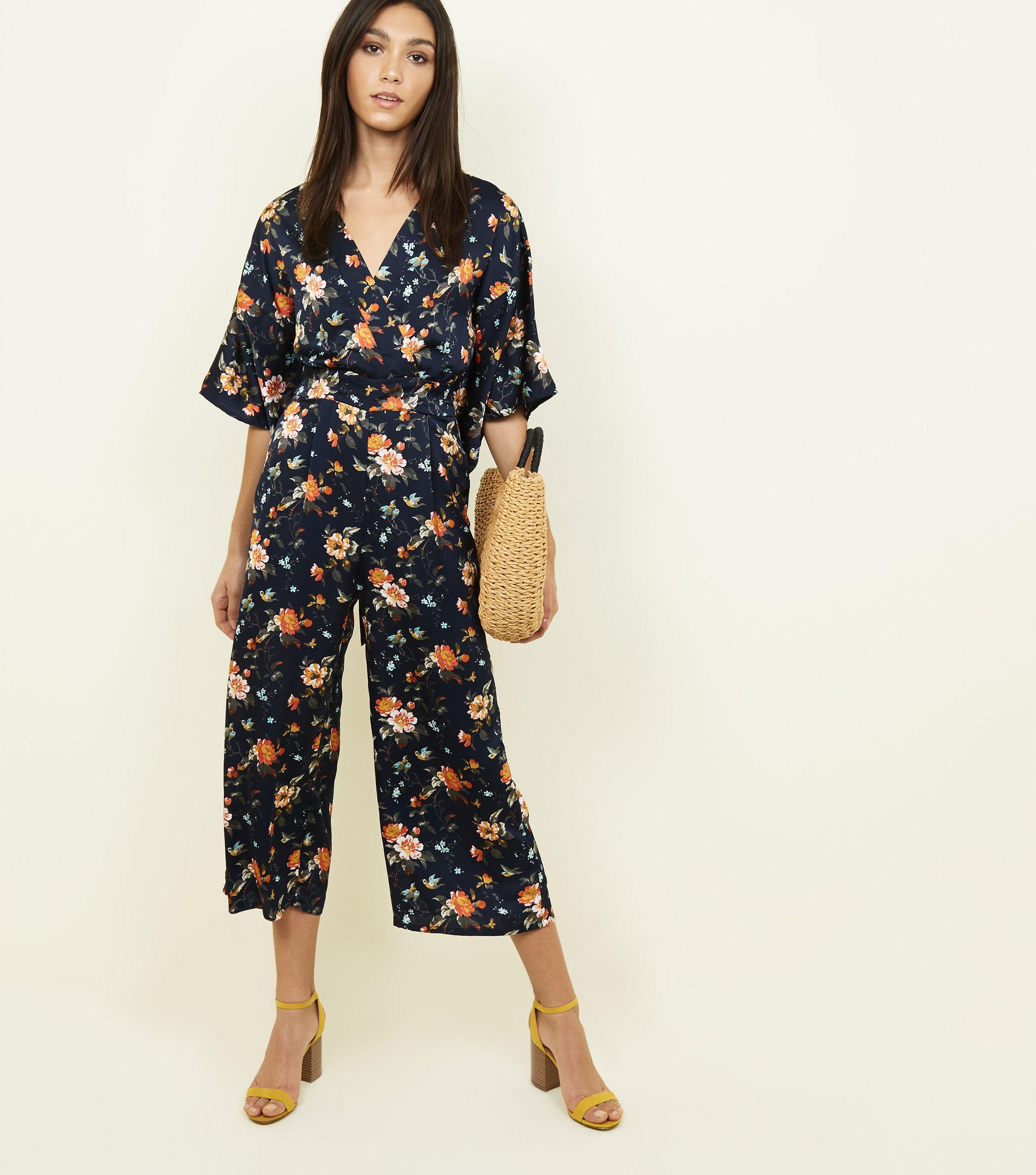4706faa5b53 Mela Blue Floral Kimono Sleeve Jumpsuit in Blue - Lyst