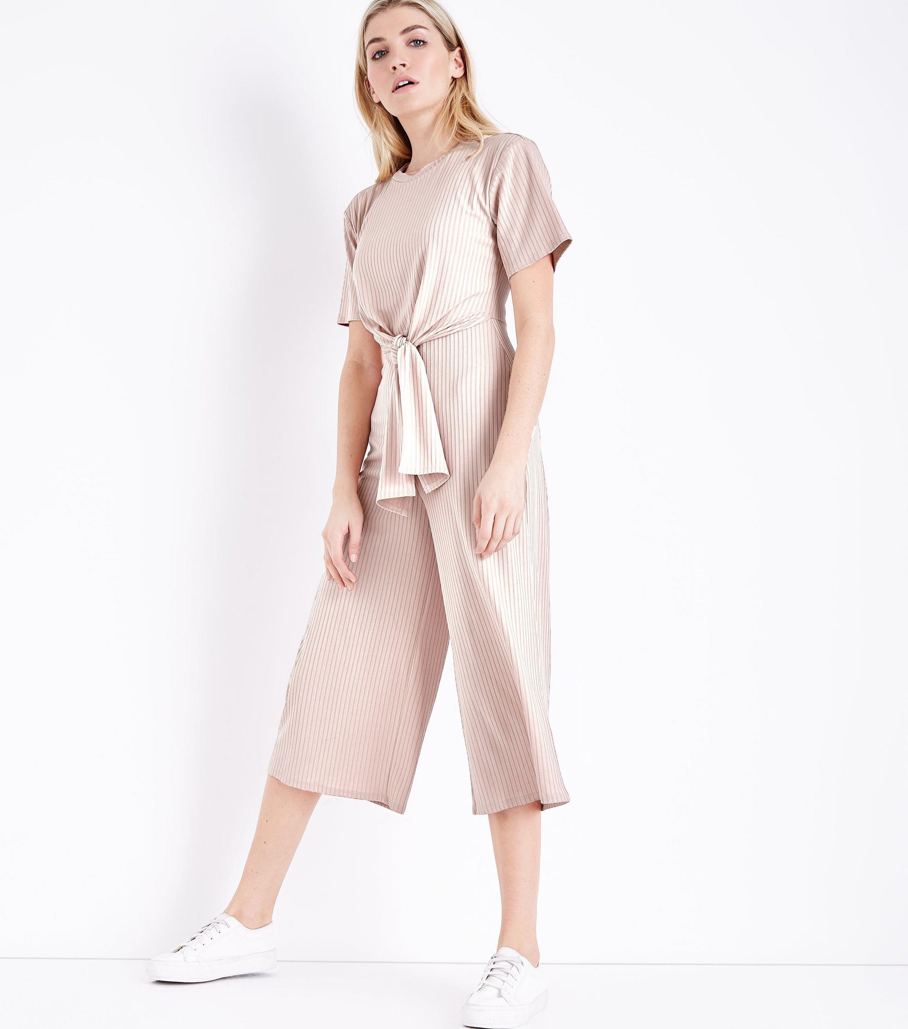 cd0406482cc9 New Look Pale Pink Ribbed Tie Front Jumpsuit in Pink - Lyst