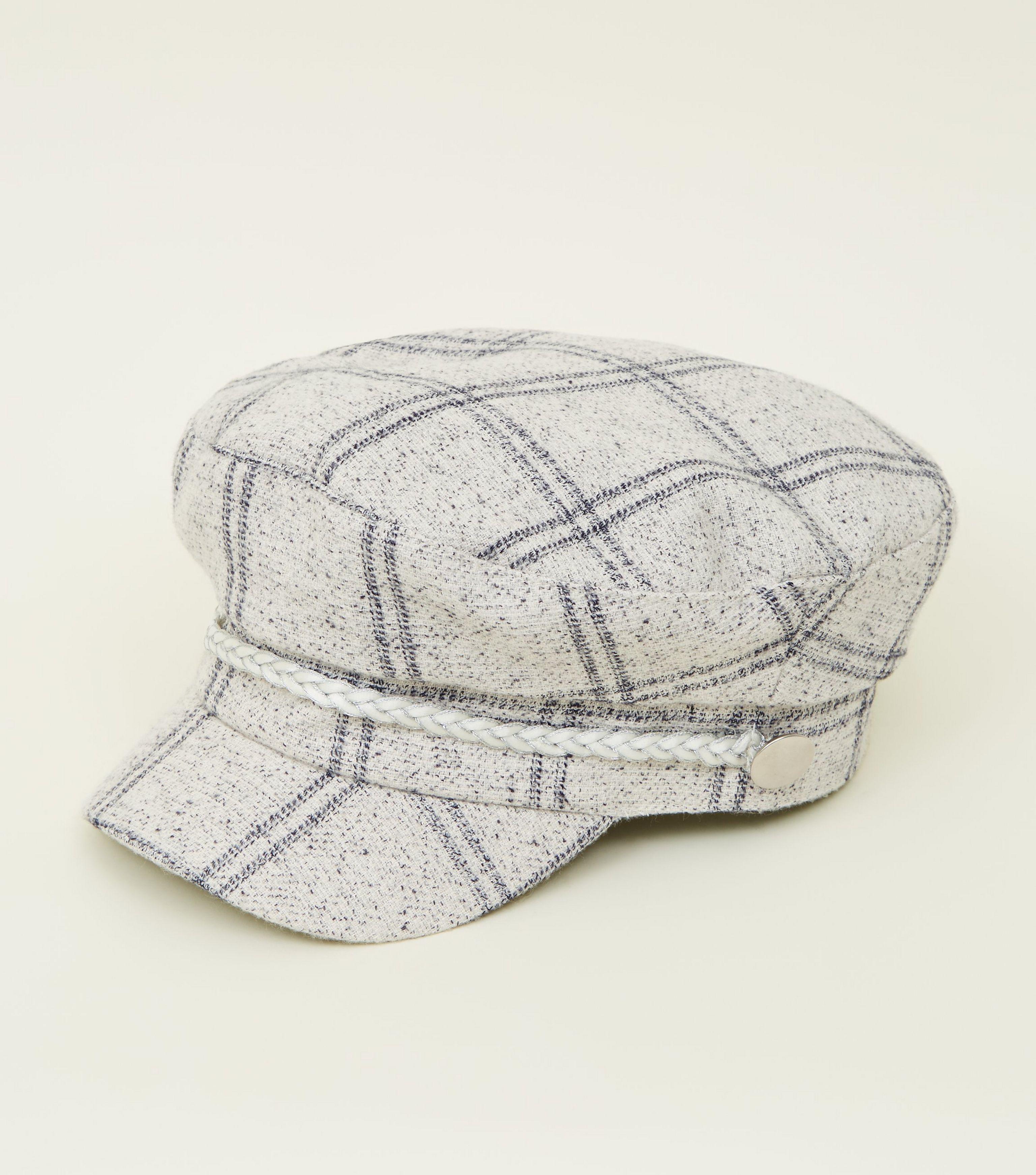 32d6f1469bdc0 New Look Cream Check Baker Boy Hat - Lyst