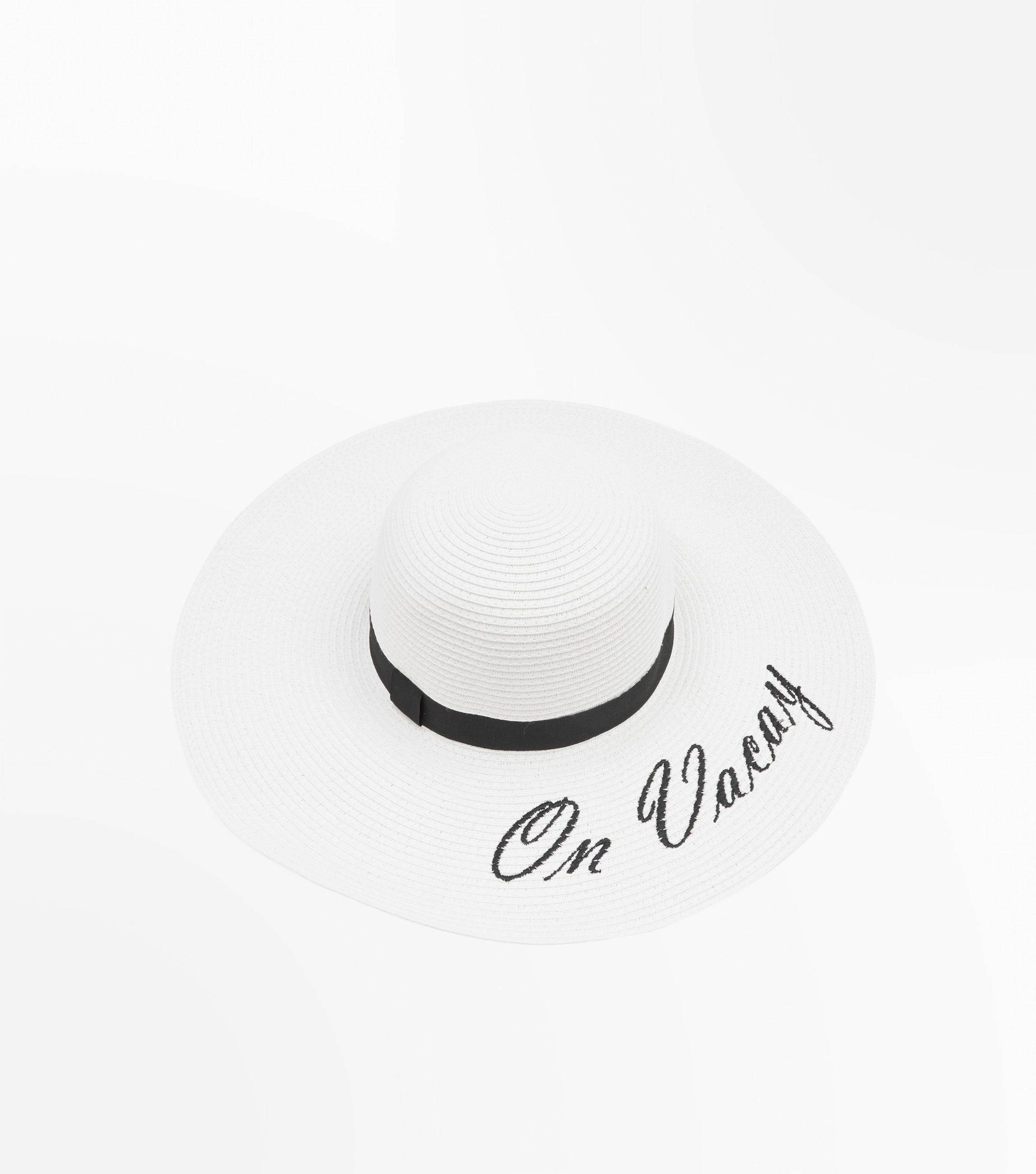 baa3d211e44 New Look White On Vacay Slogan Floppy Hat in White - Lyst