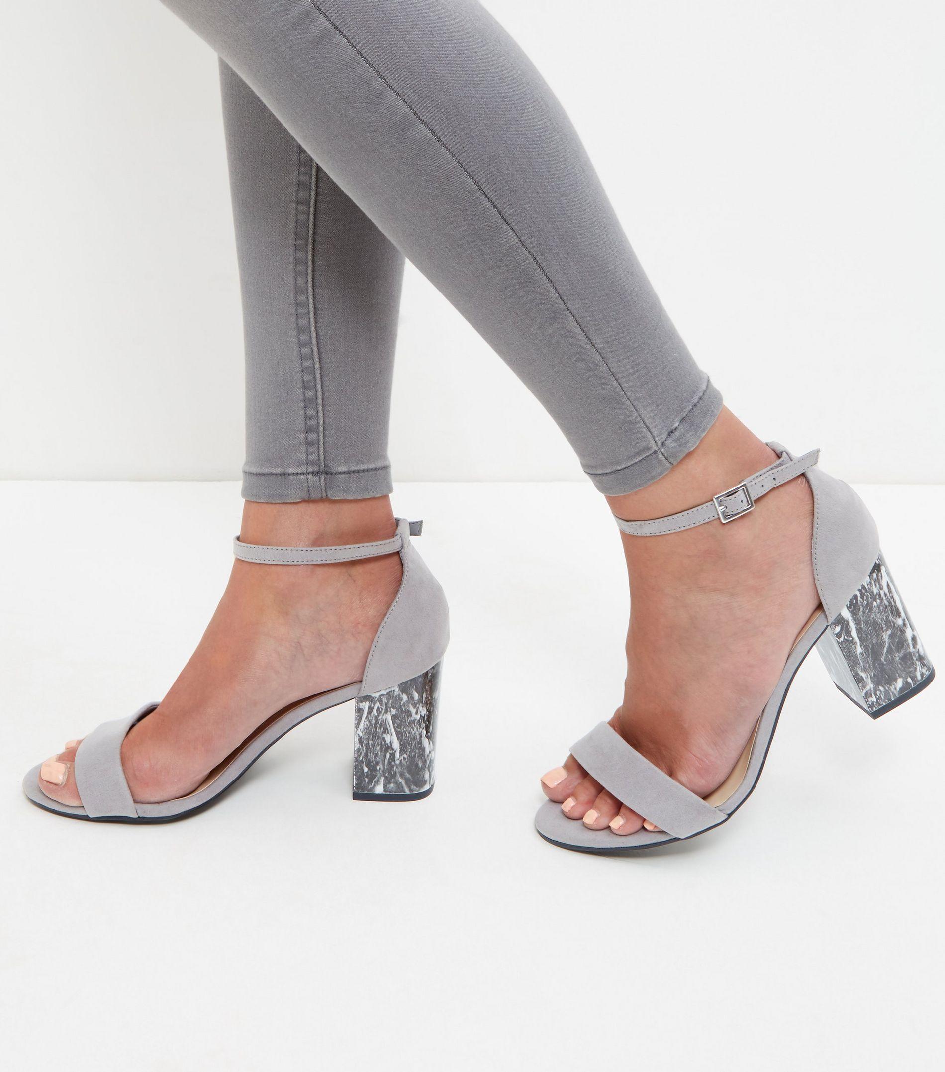 8b587b2d9f08 New Look Wide Fit Grey Marble Block Heels in Gray - Lyst