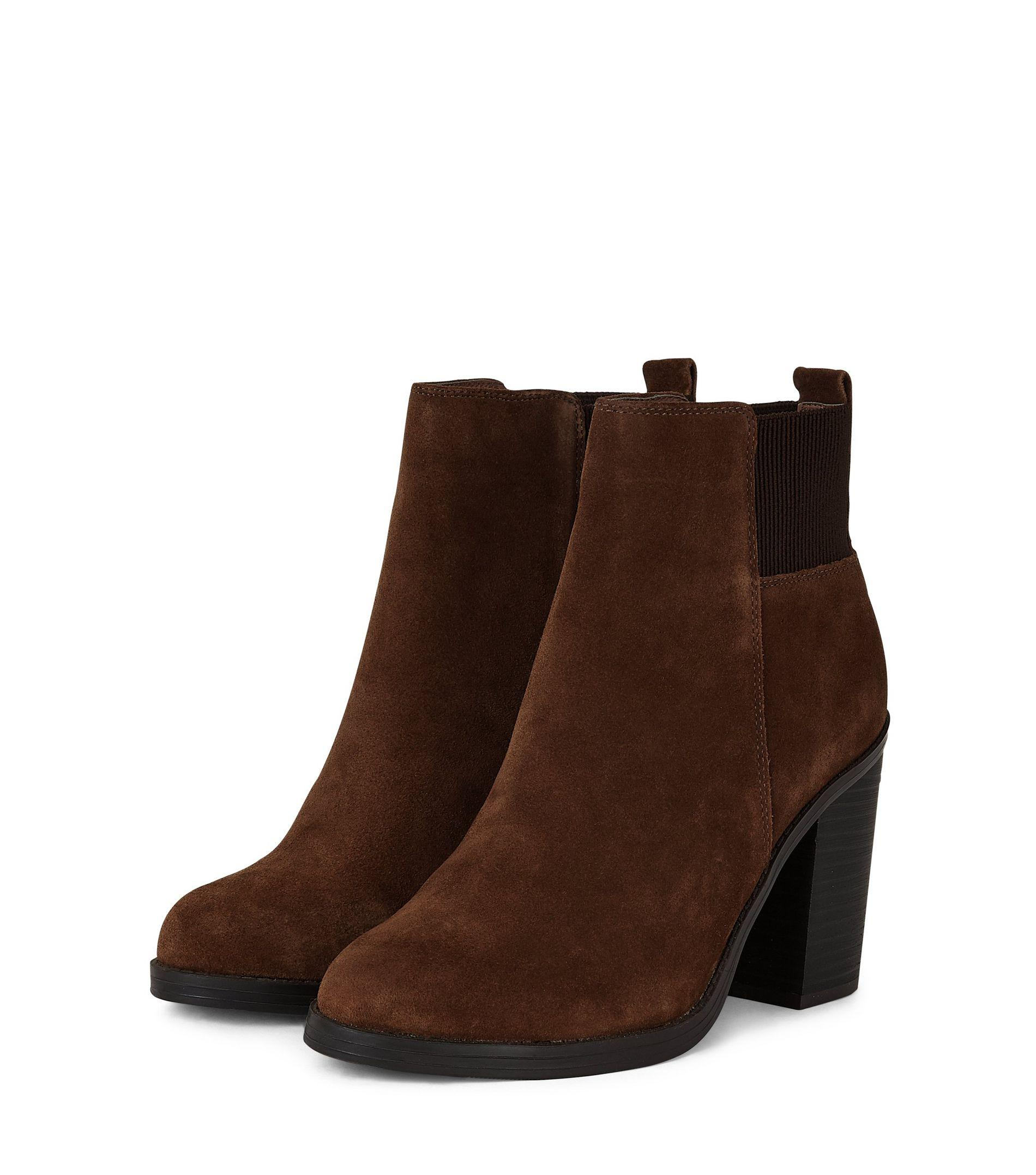 new look suede chelsea boots in brown lyst