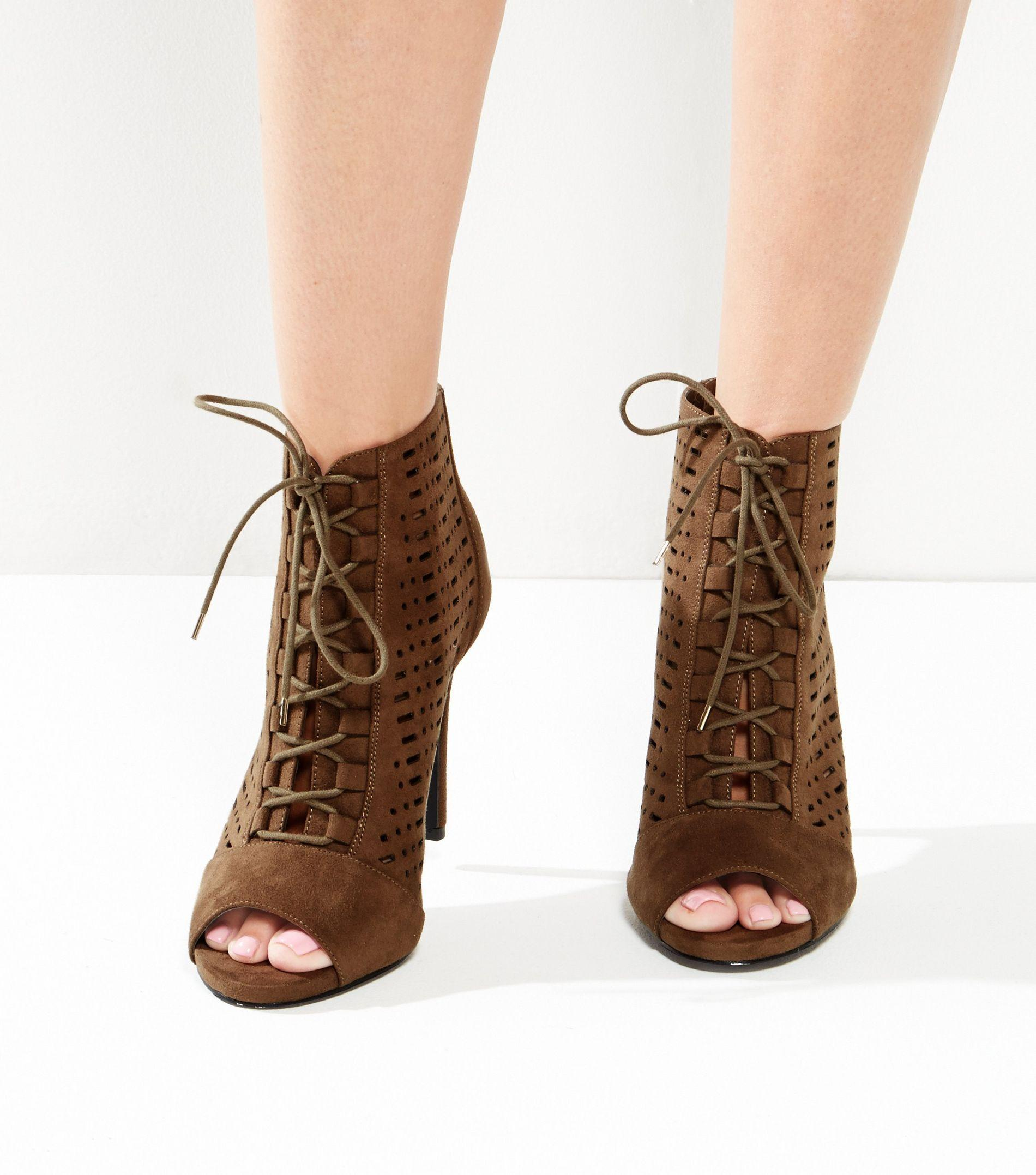 c0f9fd687f8a New Look Wide Fit Khaki Lace Up Sandals - Lyst