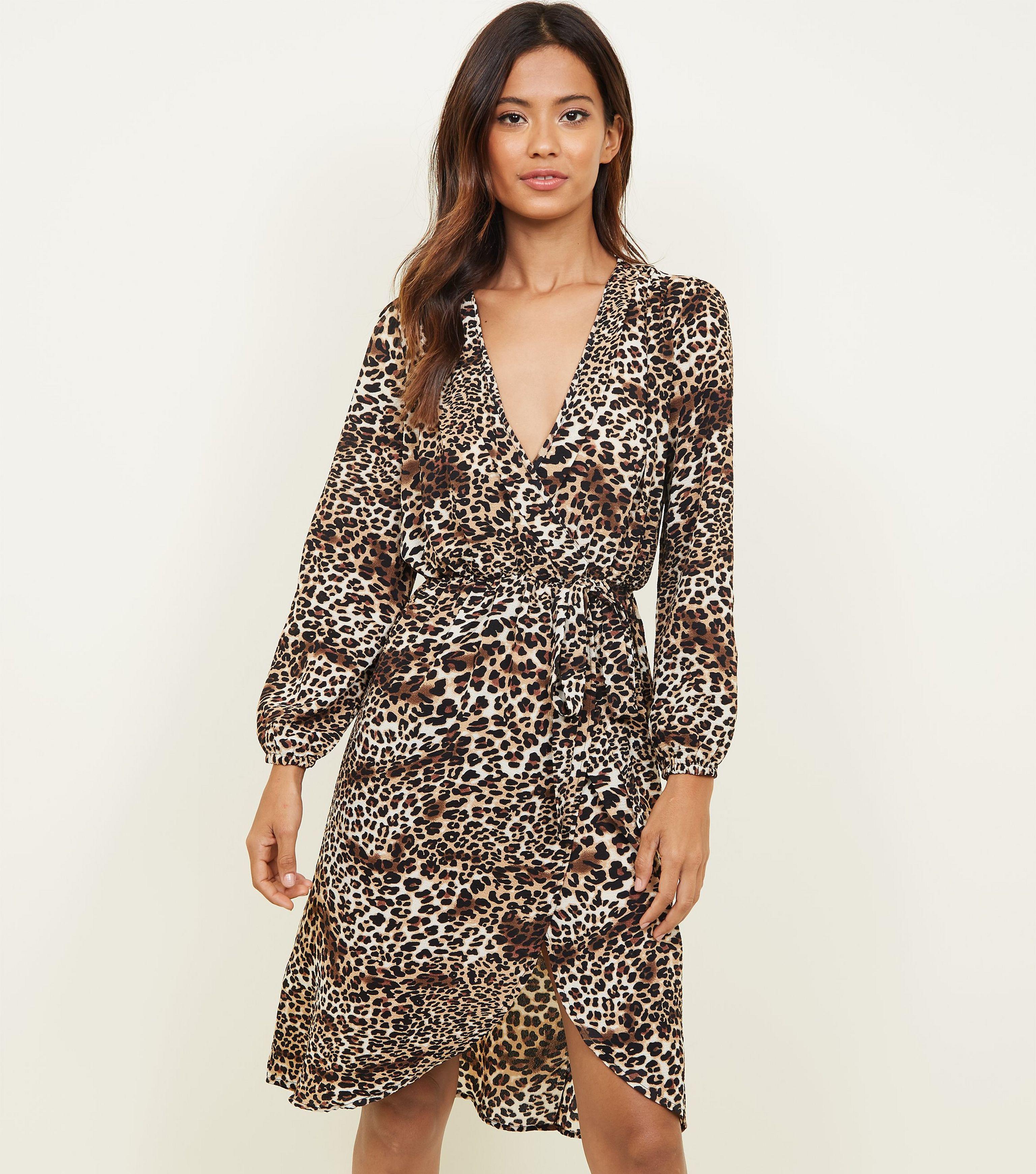 AX Paris Brown Leopard Print Wrap Dress in Brown - Lyst 56443f233