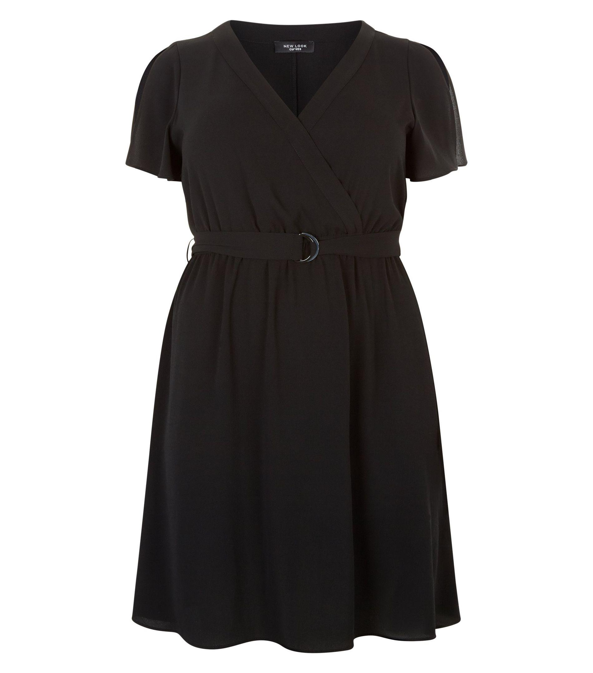 b9dd755bc84b New Look Curves Split Sleeve Wrap Front Dress in Black - Lyst