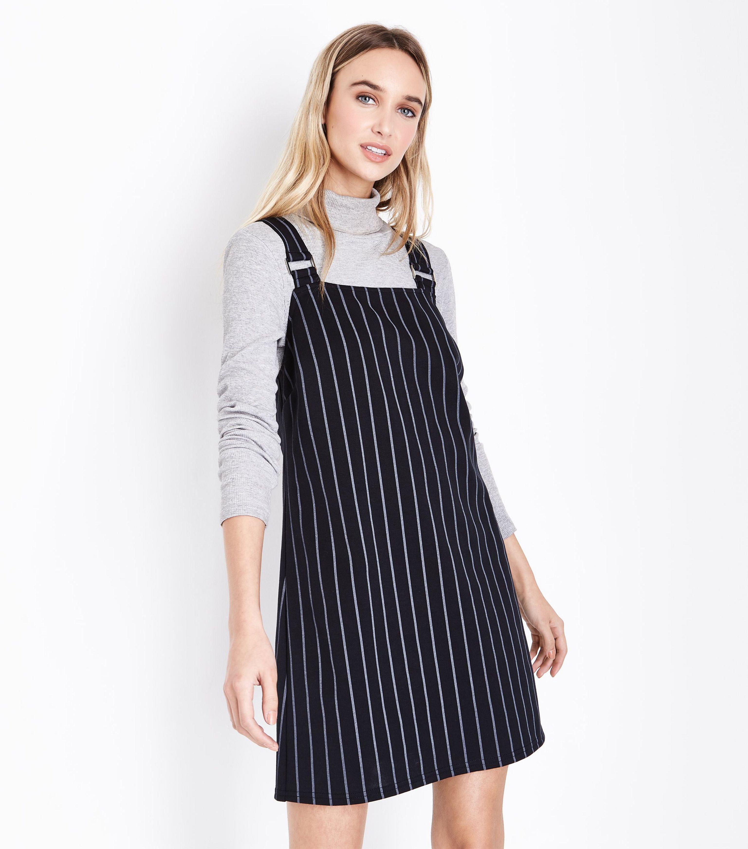 a95689c0340 New Look Black Pinstripe Pinafore Dress in Black - Lyst