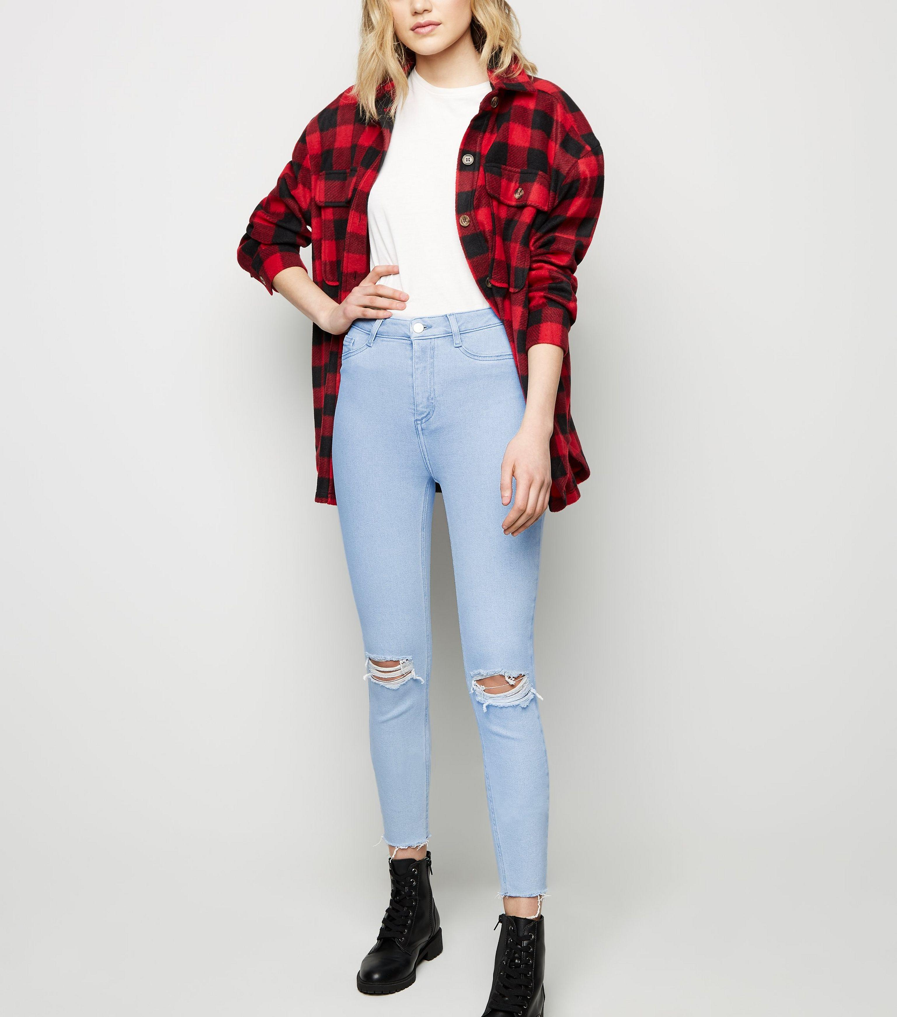 28d3987efd771 New Look. Women's Bright Blue High Waist Super Skinny Ripped Hallie Jeans