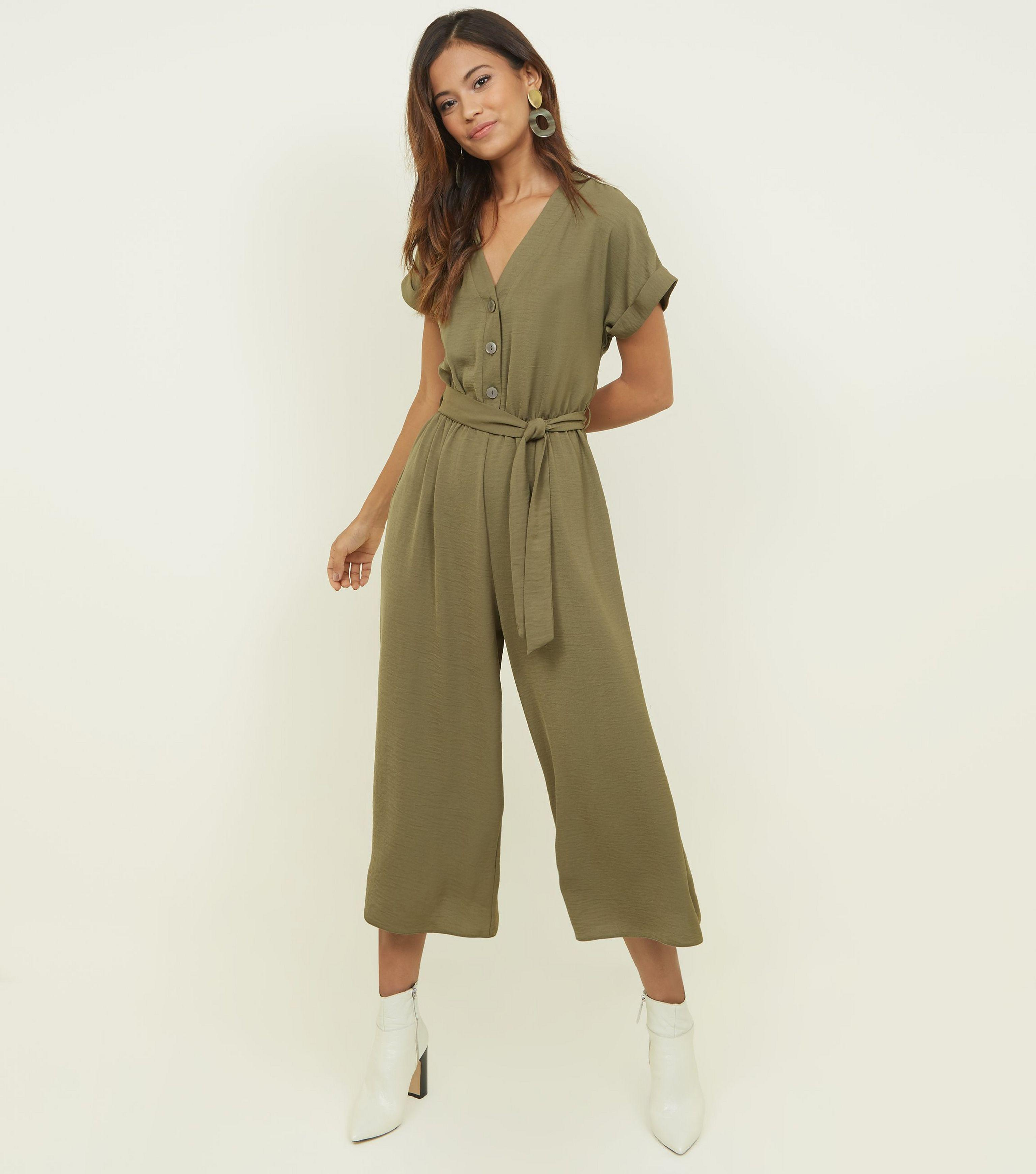 c1aa50778c New Look Khaki Button Front Linen-look Jumpsuit in Natural - Lyst