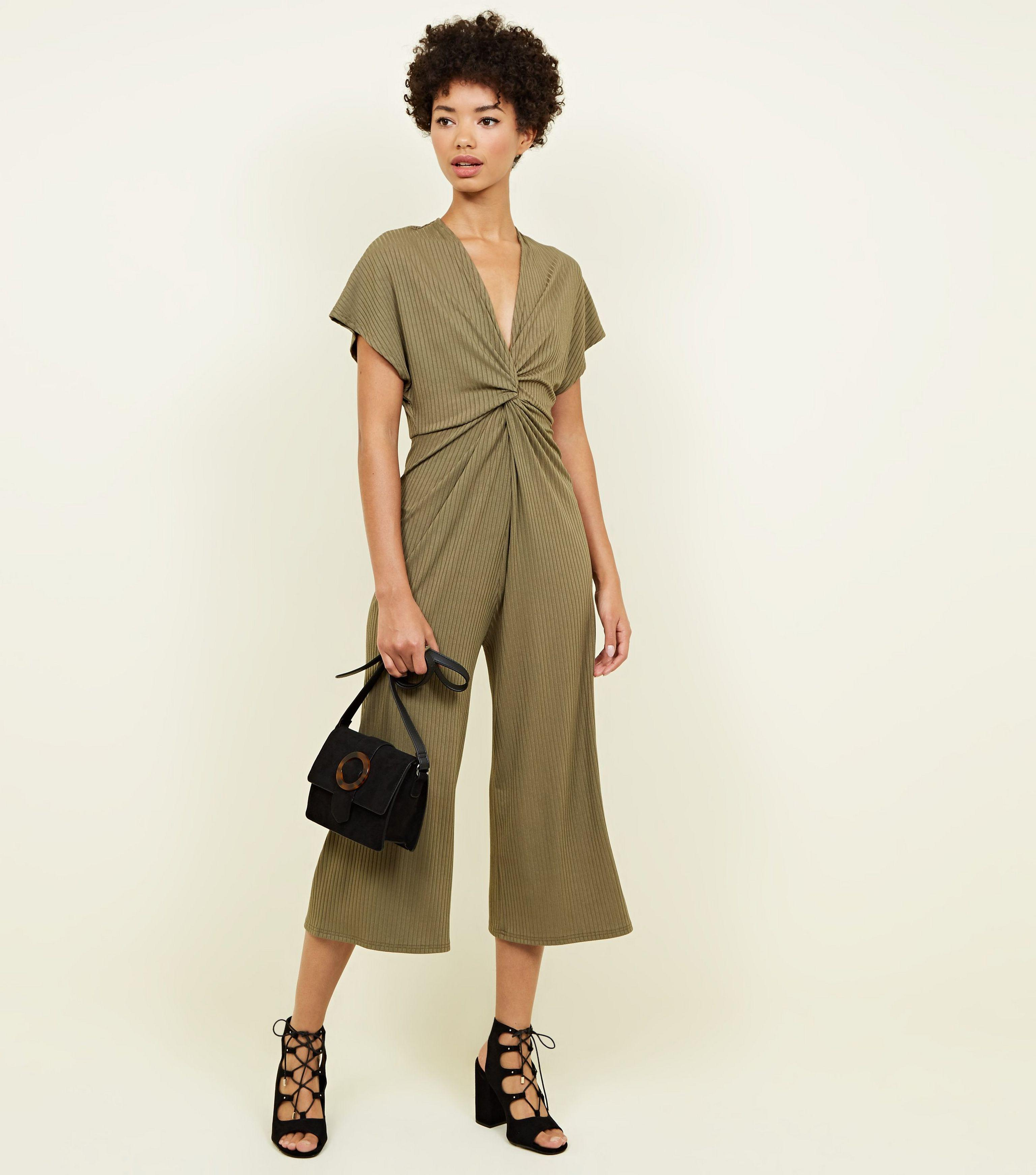 0120805c4d3 New Look Khaki Ribbed Twist Front Culotte Jumpsuit in Natural - Lyst