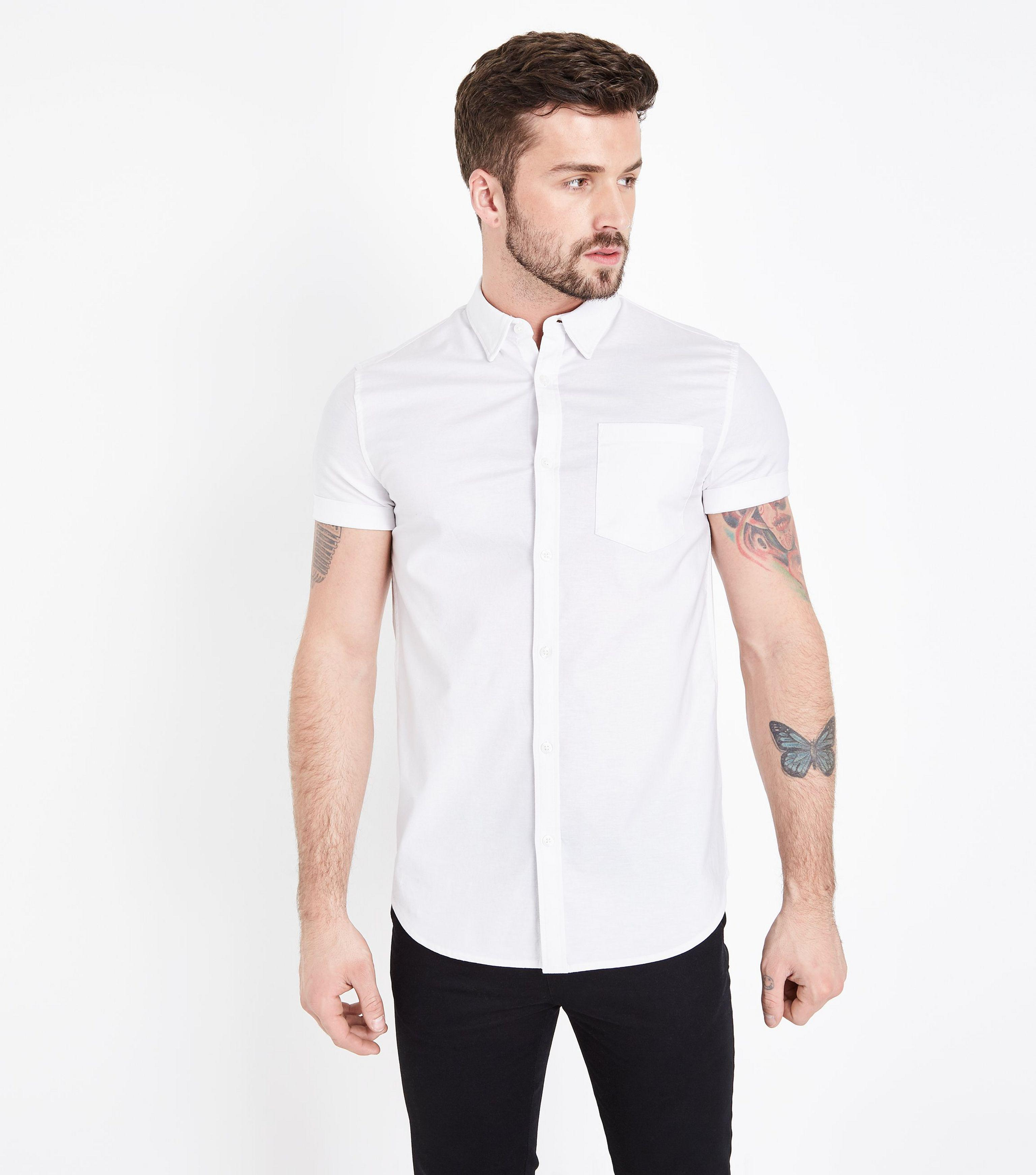 94a927b1 New Look White Short Sleeve Muscle Fit Oxford Shirt in White for Men ...