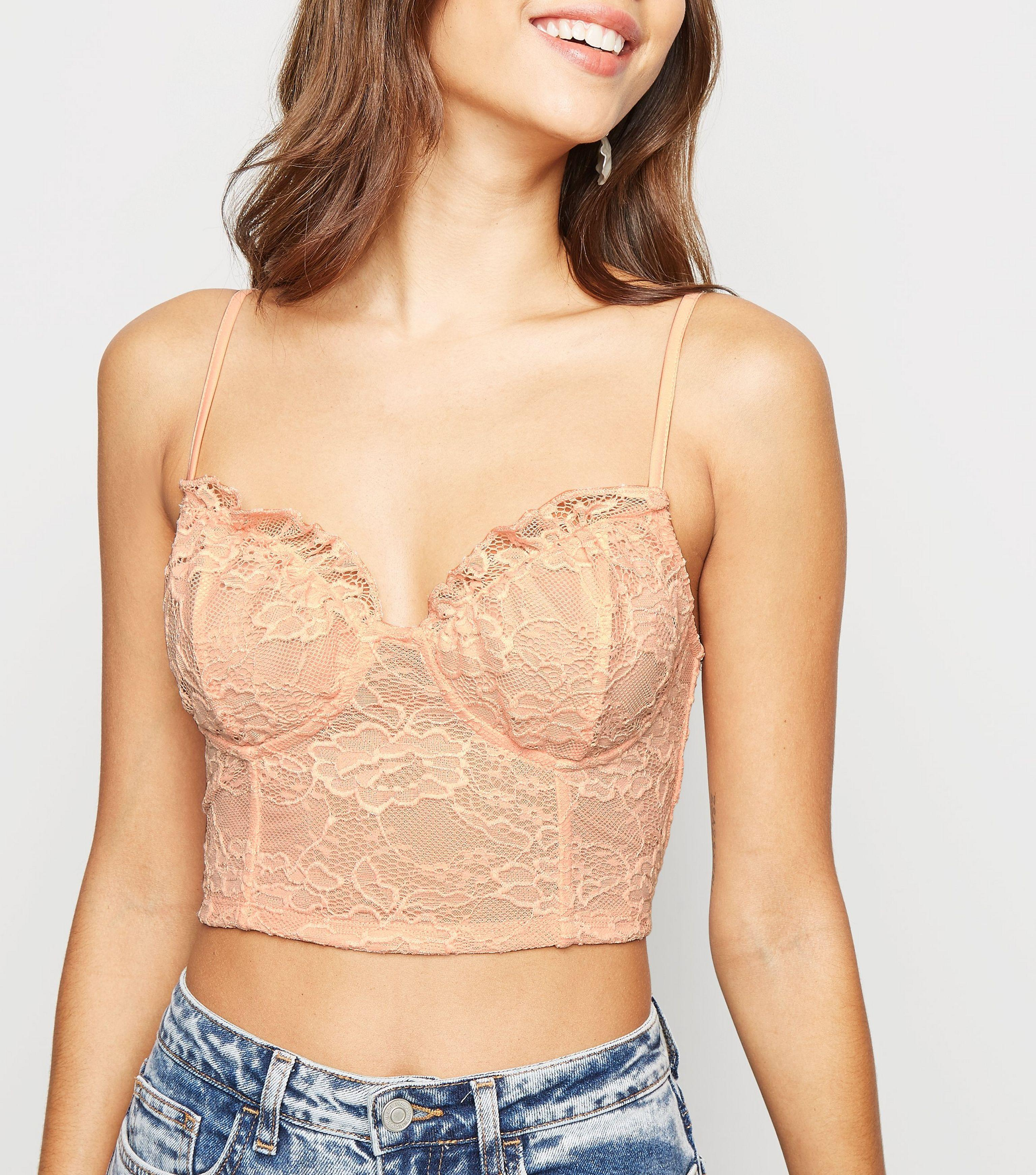 a6f55cd945daf7 New Look Pale Pink Lace Milkmaid Bralette in Pink - Lyst
