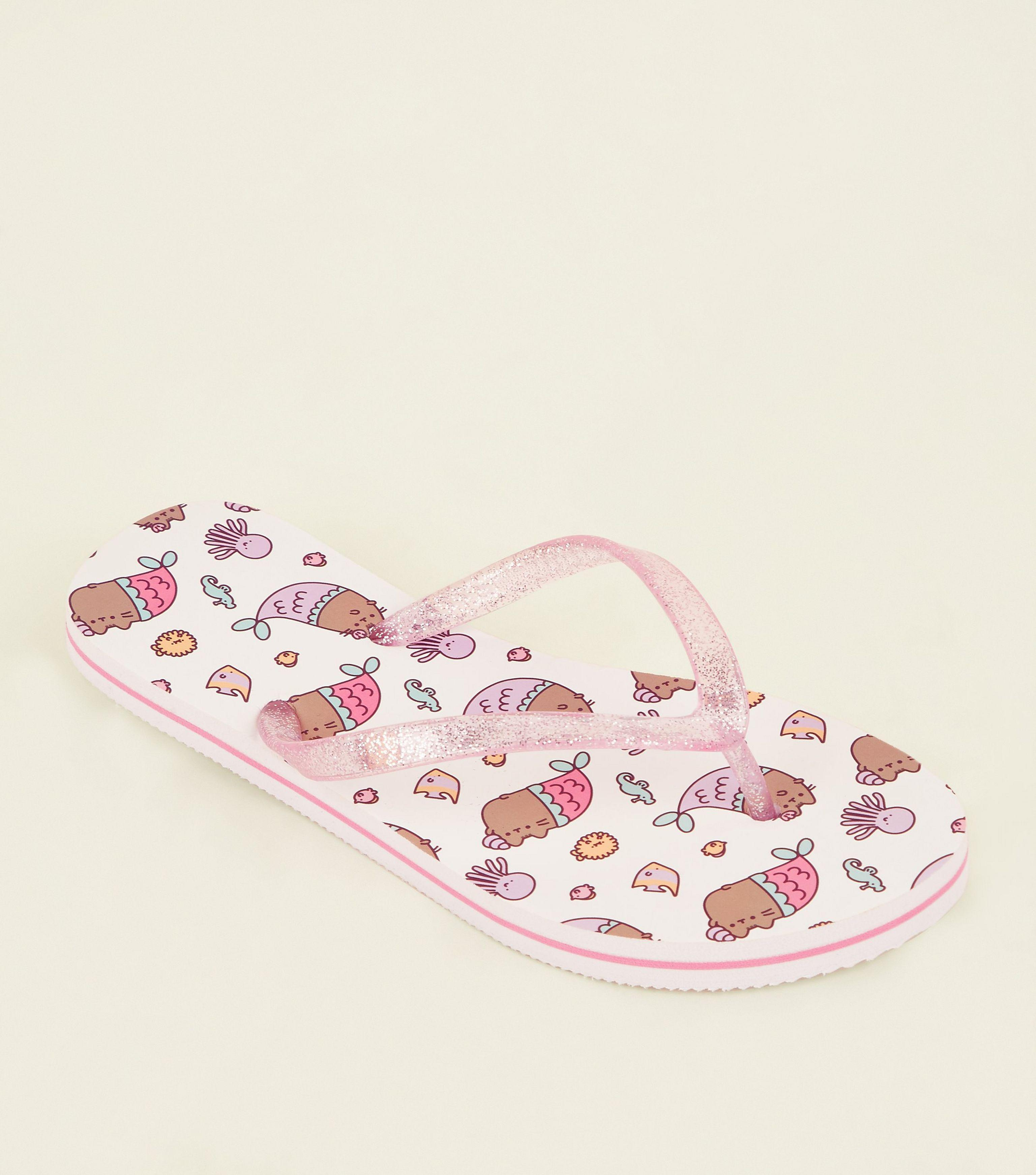 95513a172b0f New Look - Girls White And Pink Pusheen Flip Flops - Lyst. View fullscreen