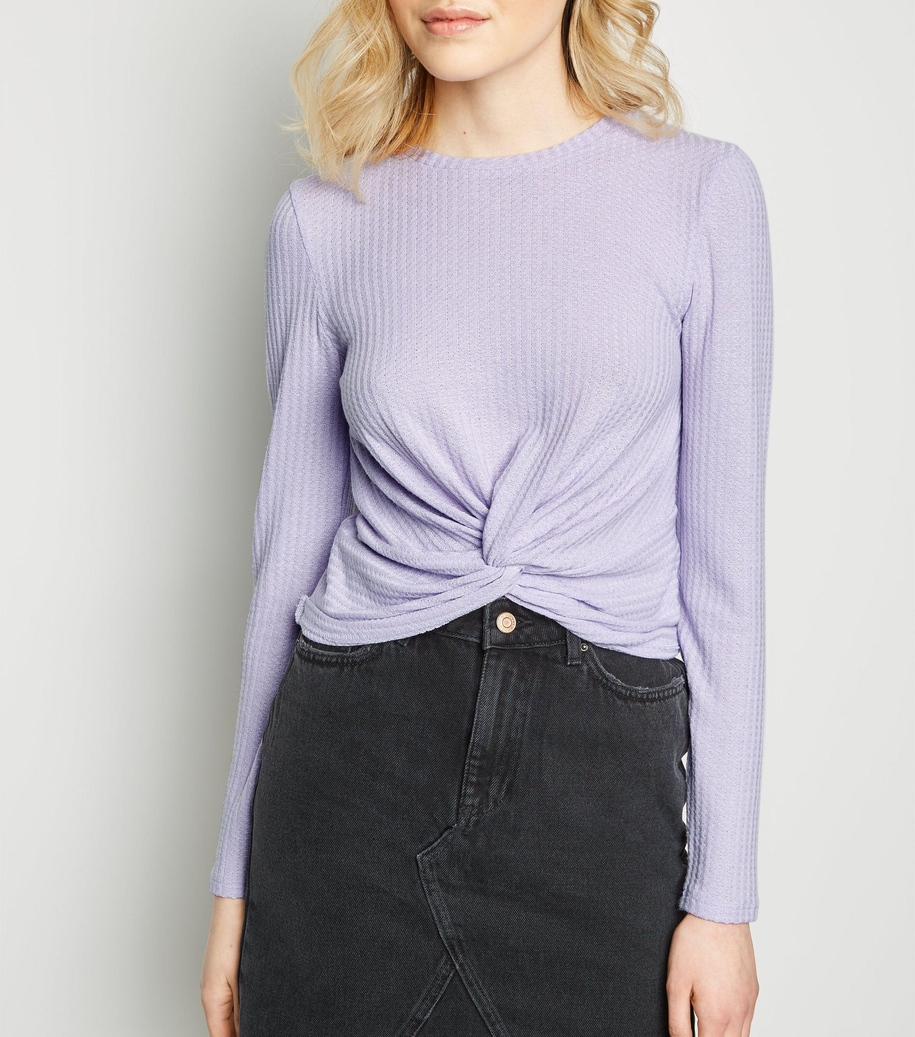 f0c81c3cf95e30 New Look Lilac Twist Front Long Sleeve Crop Top in Purple - Lyst