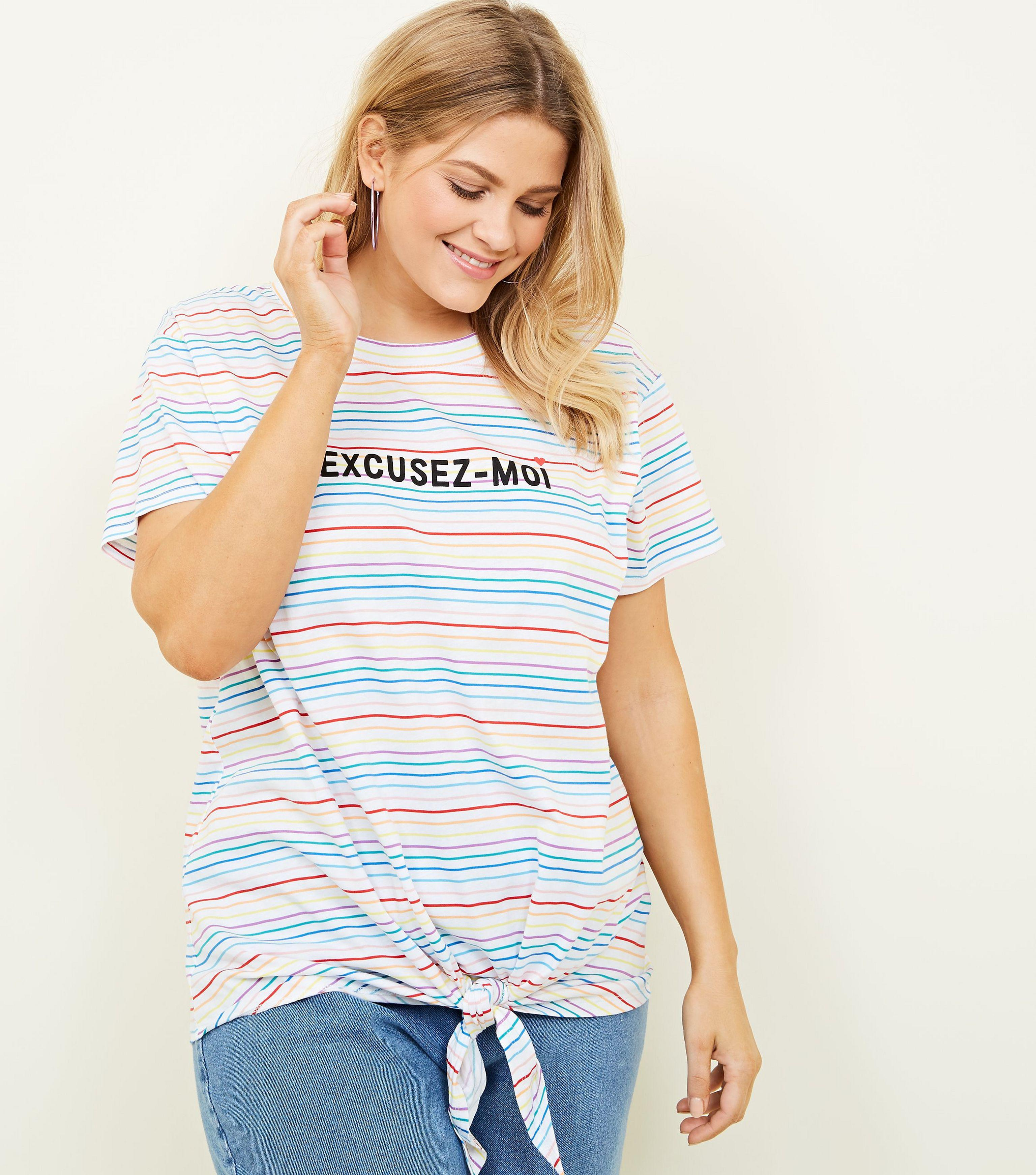 181d5c954d New Look - Curves White Rainbow Stripe Tie Front Slogan T-shirt - Lyst