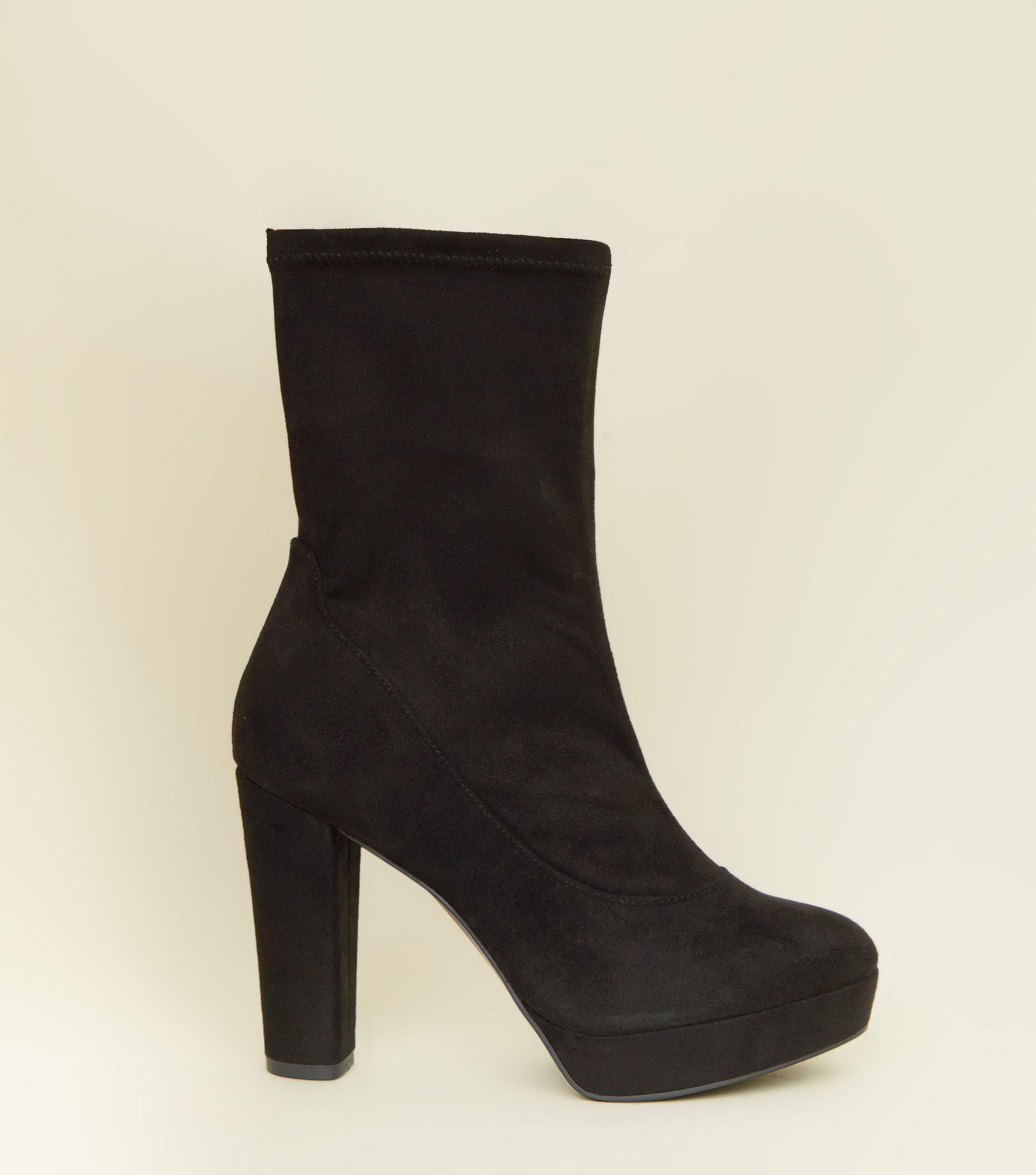 cb65ae9226 New Look Wide Fit Black Suedette Block Heel Platform Boots in Black ...