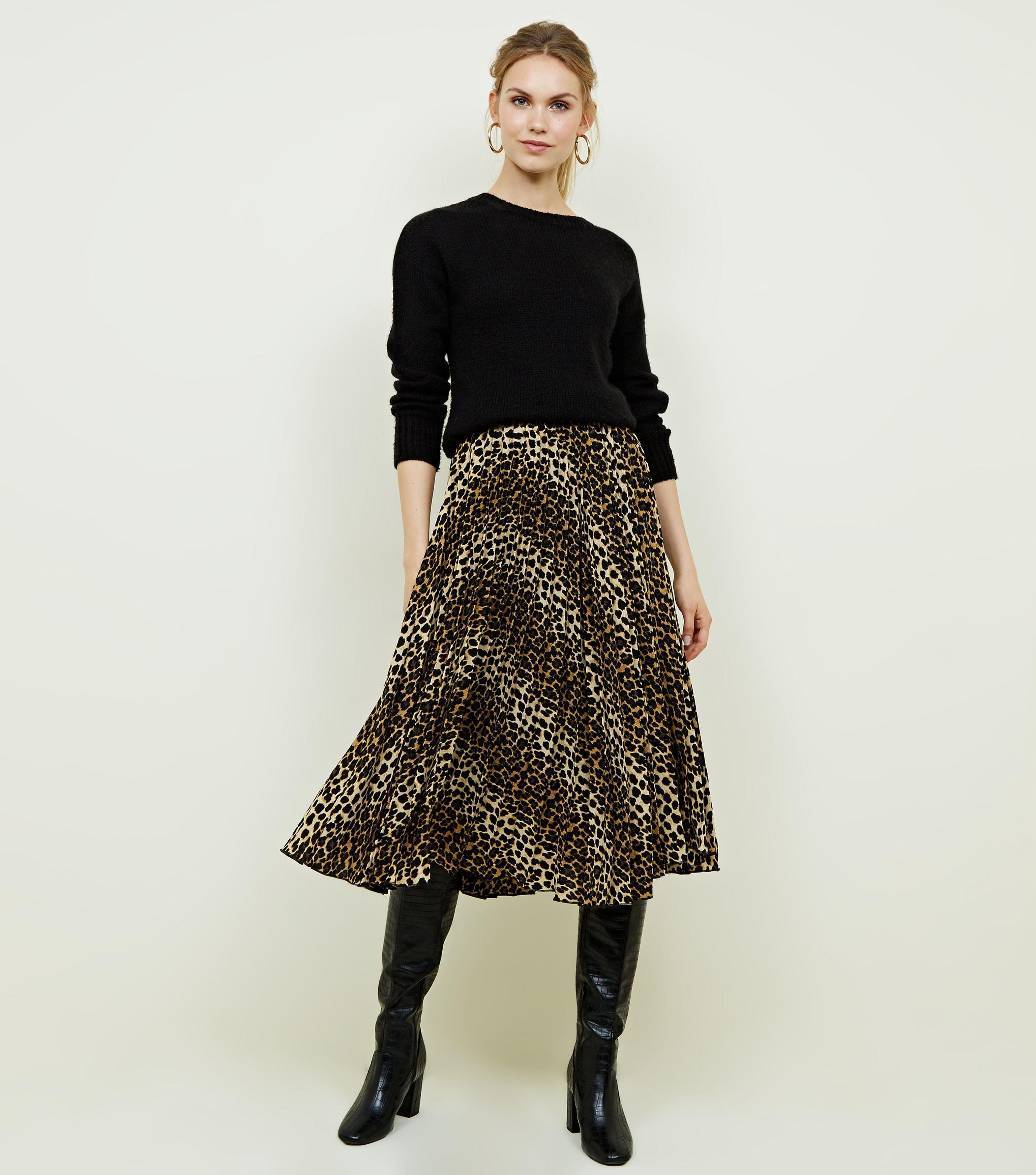united kingdom low cost release date: New Look Synthetic Brown Leopard Print Pleated Midi Skirt - Lyst
