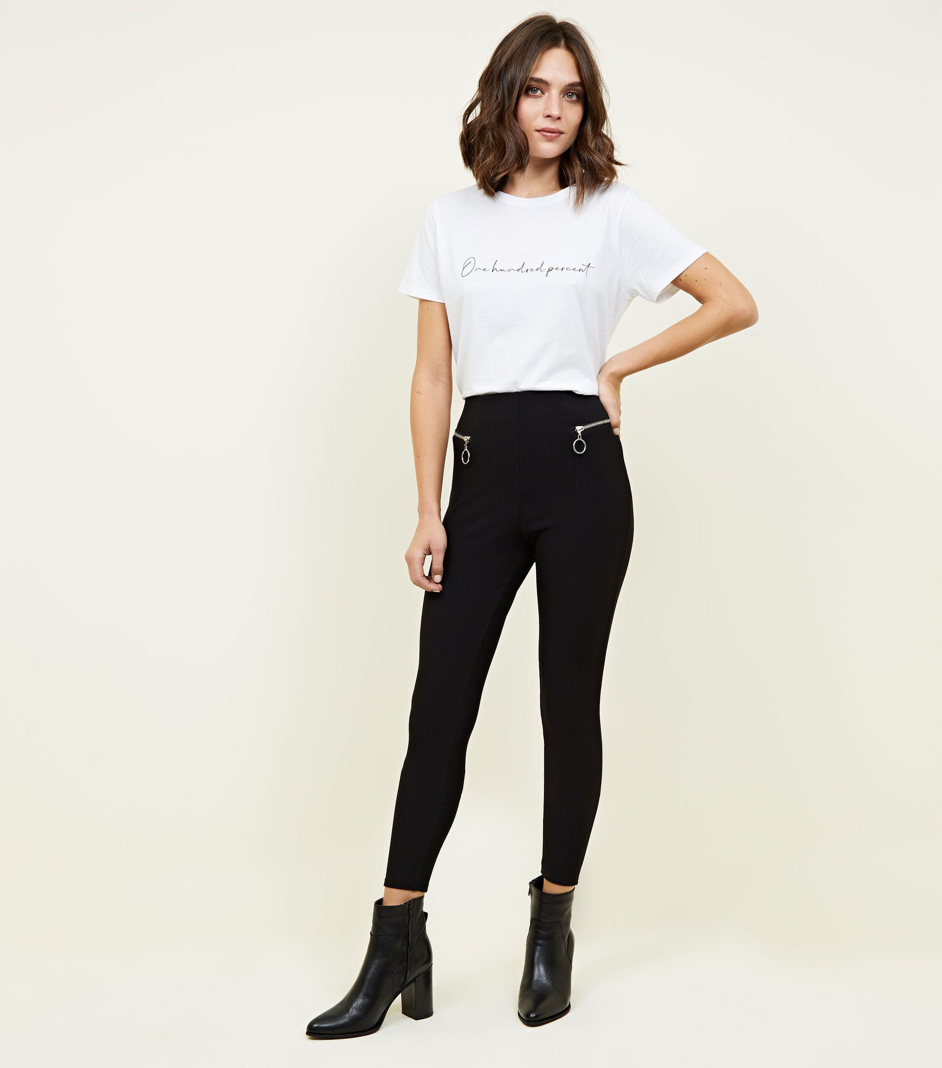 578e8e3004d New Look Black Ribbed Zip Side Leggings in Black - Lyst