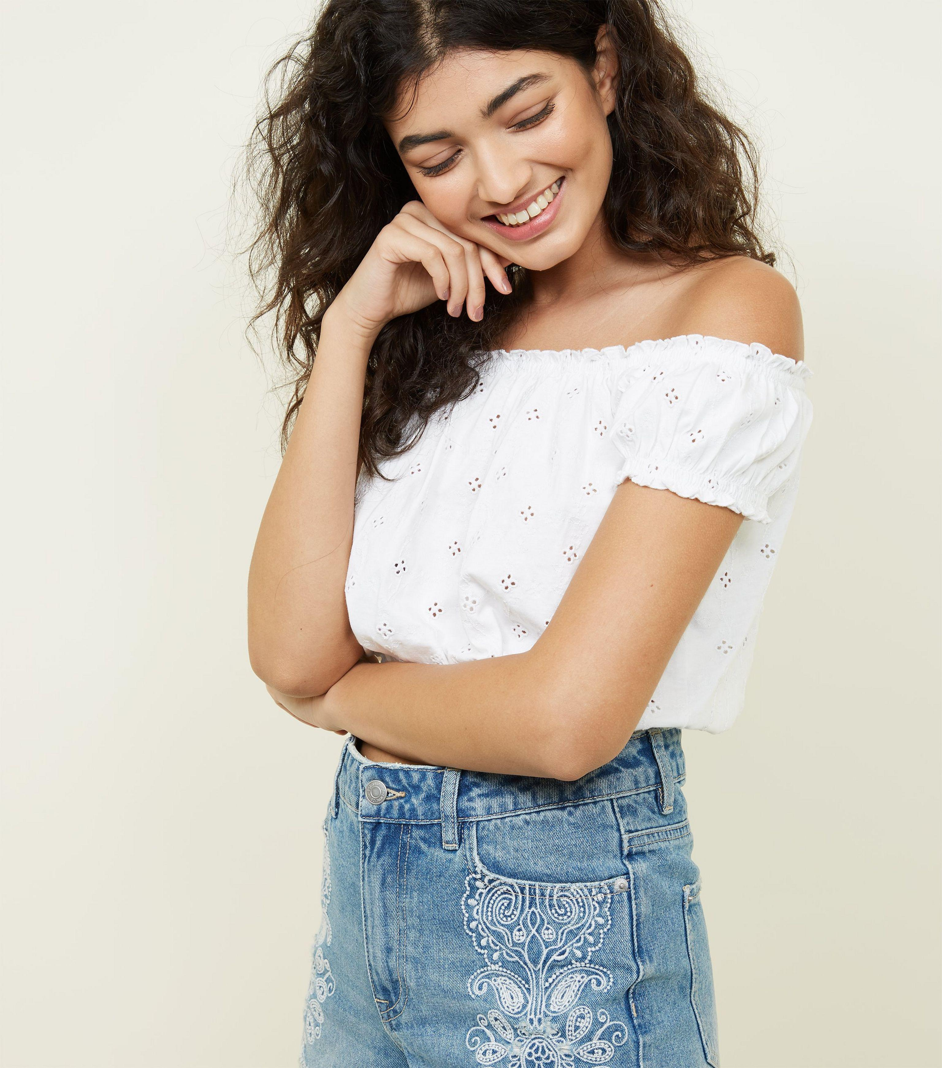 7c38015395f New Look White Broderie Gathered Bardot Crop Top in White - Lyst