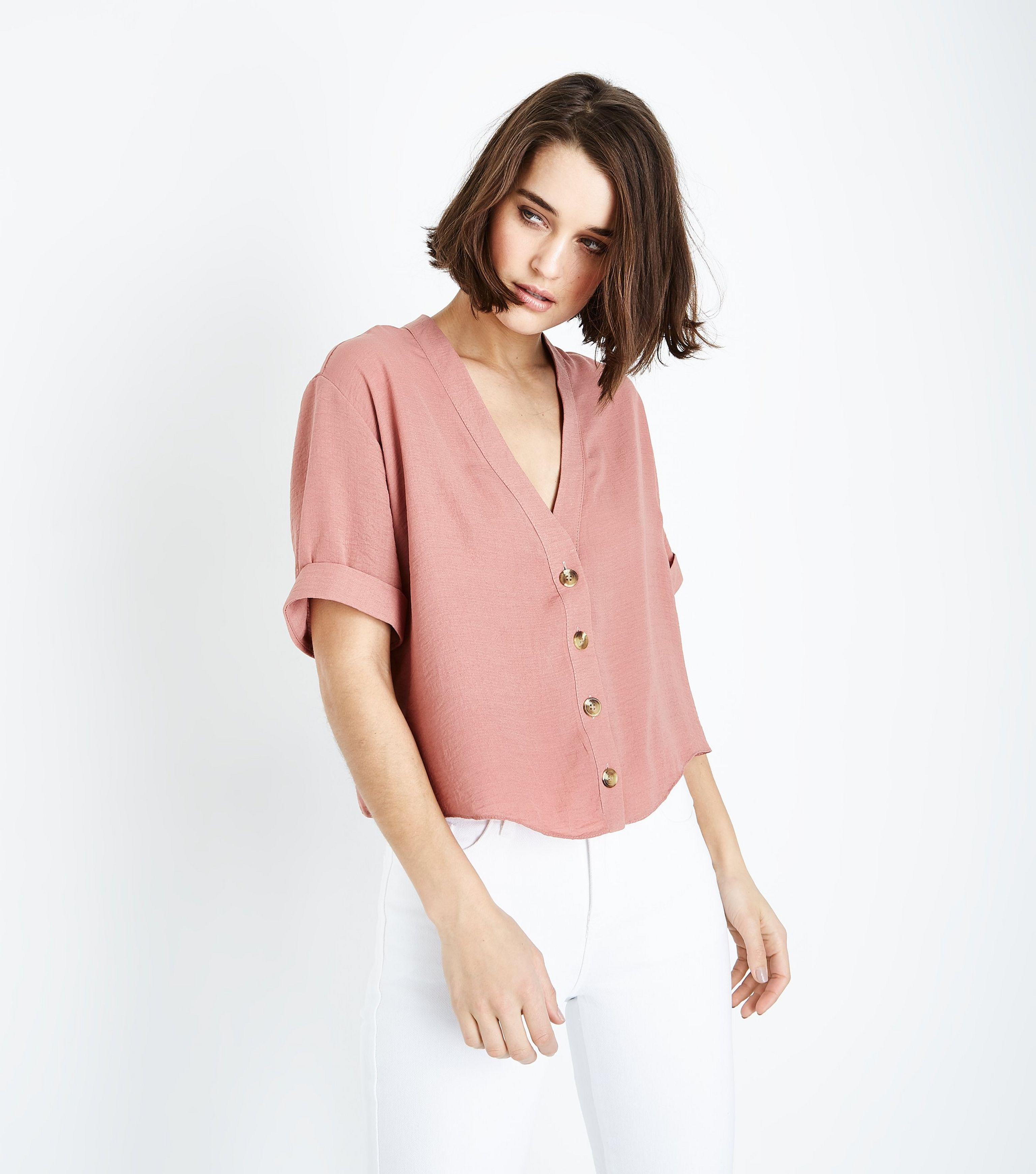 fec5b8cf60d0e4 New Look Pink V Neck Boxy Shirt in Pink - Lyst
