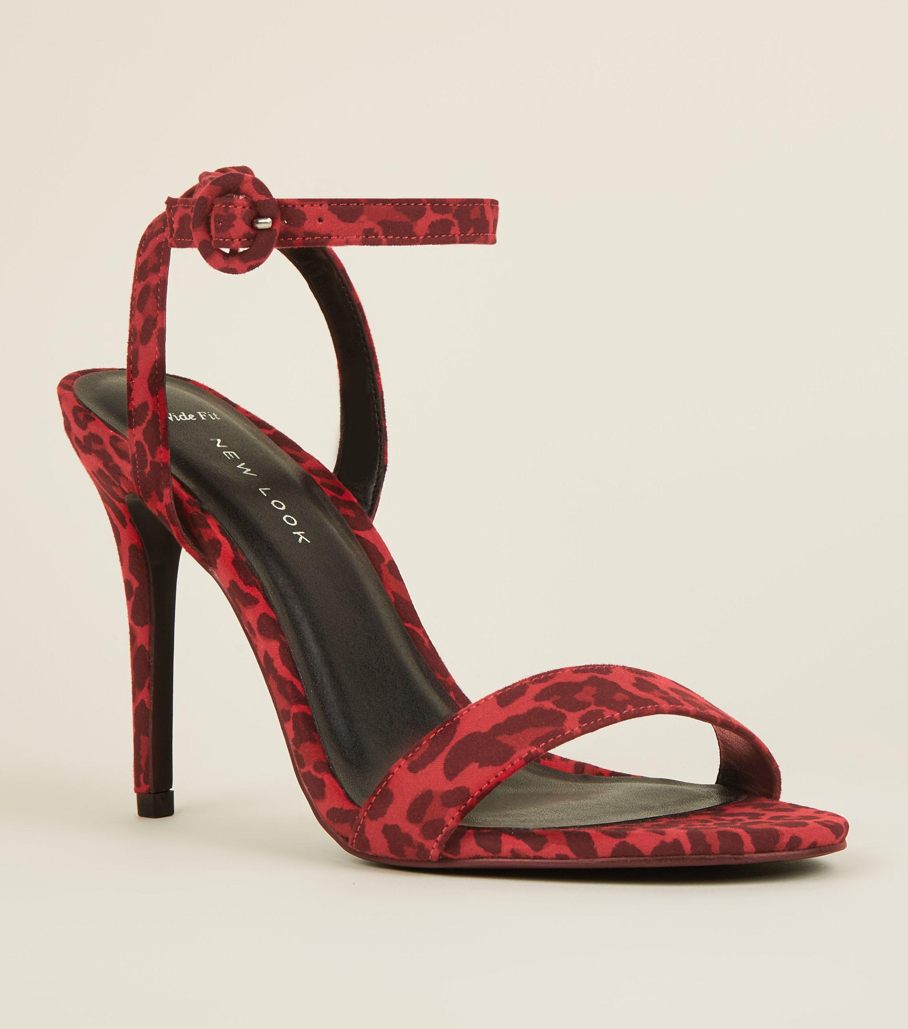 9bb701afedf New Look Wide Fit Red Suedette Leopard Print Stiletto Sandals in Red ...
