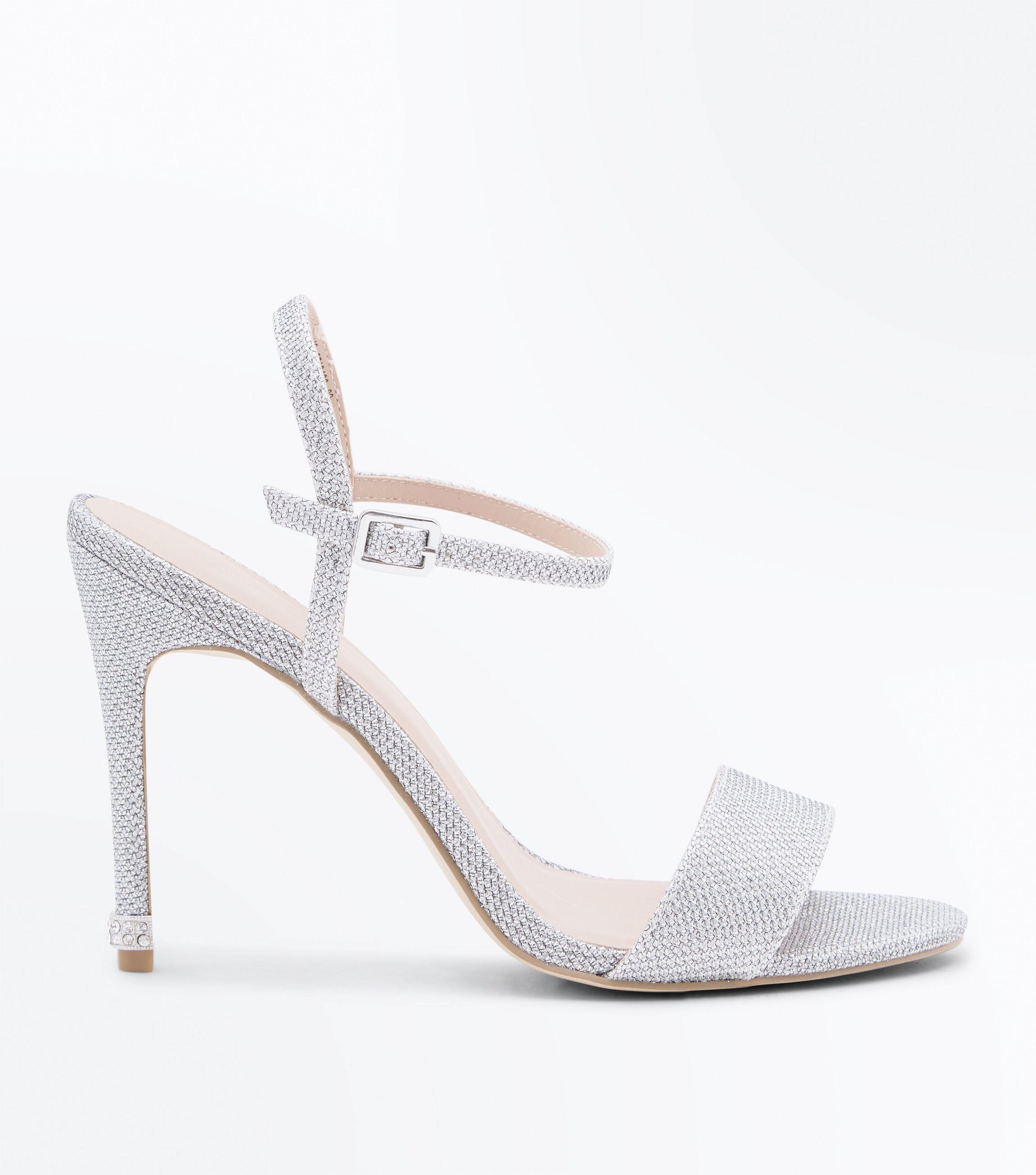 bc69458eaa7 New Look Silver Glitter Diamanté Stiletto Heel Sandals in Metallic ...