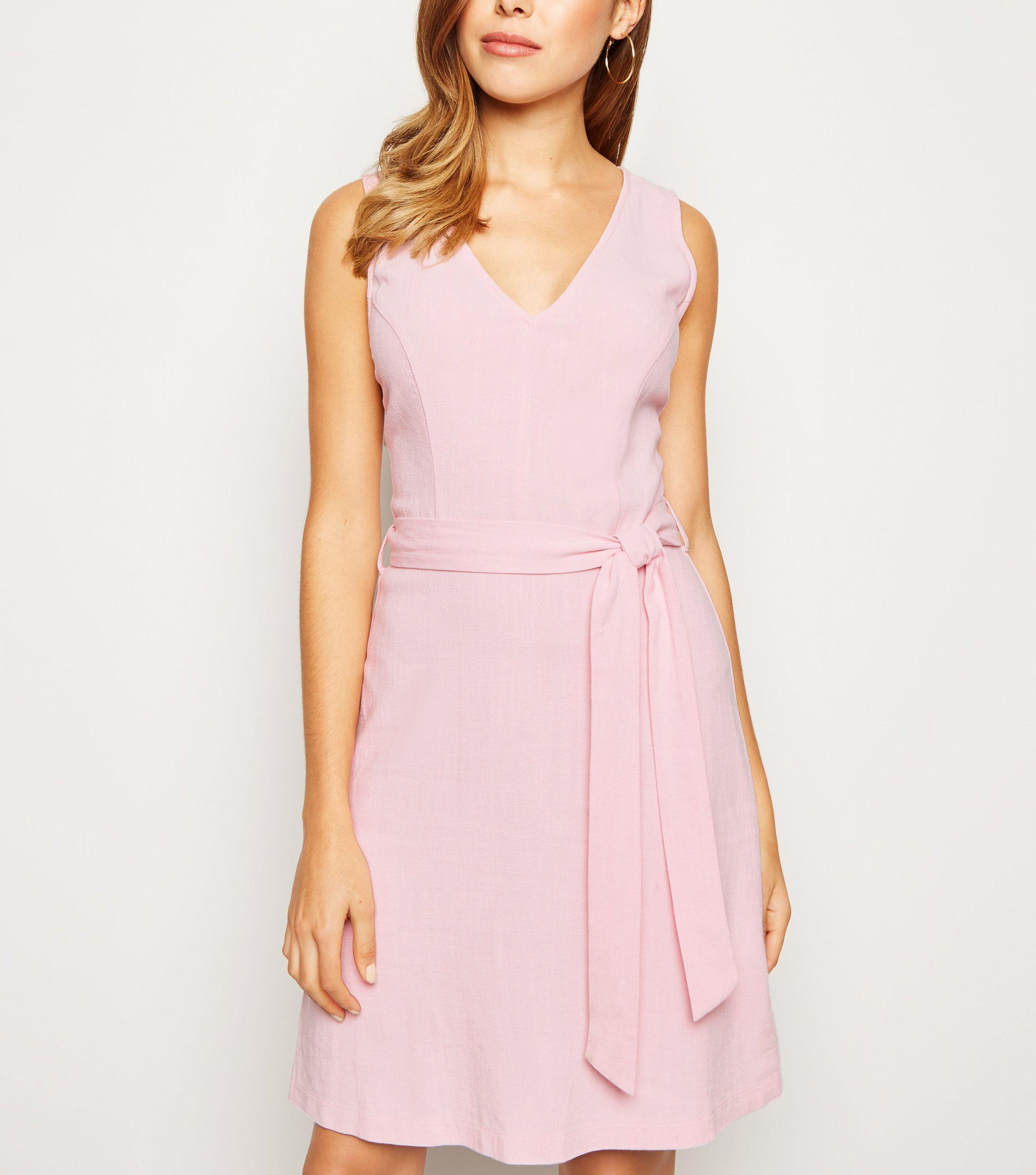 f09a7240eee New Look Pink Linen Look Belted Pinafore Dress in Pink - Lyst