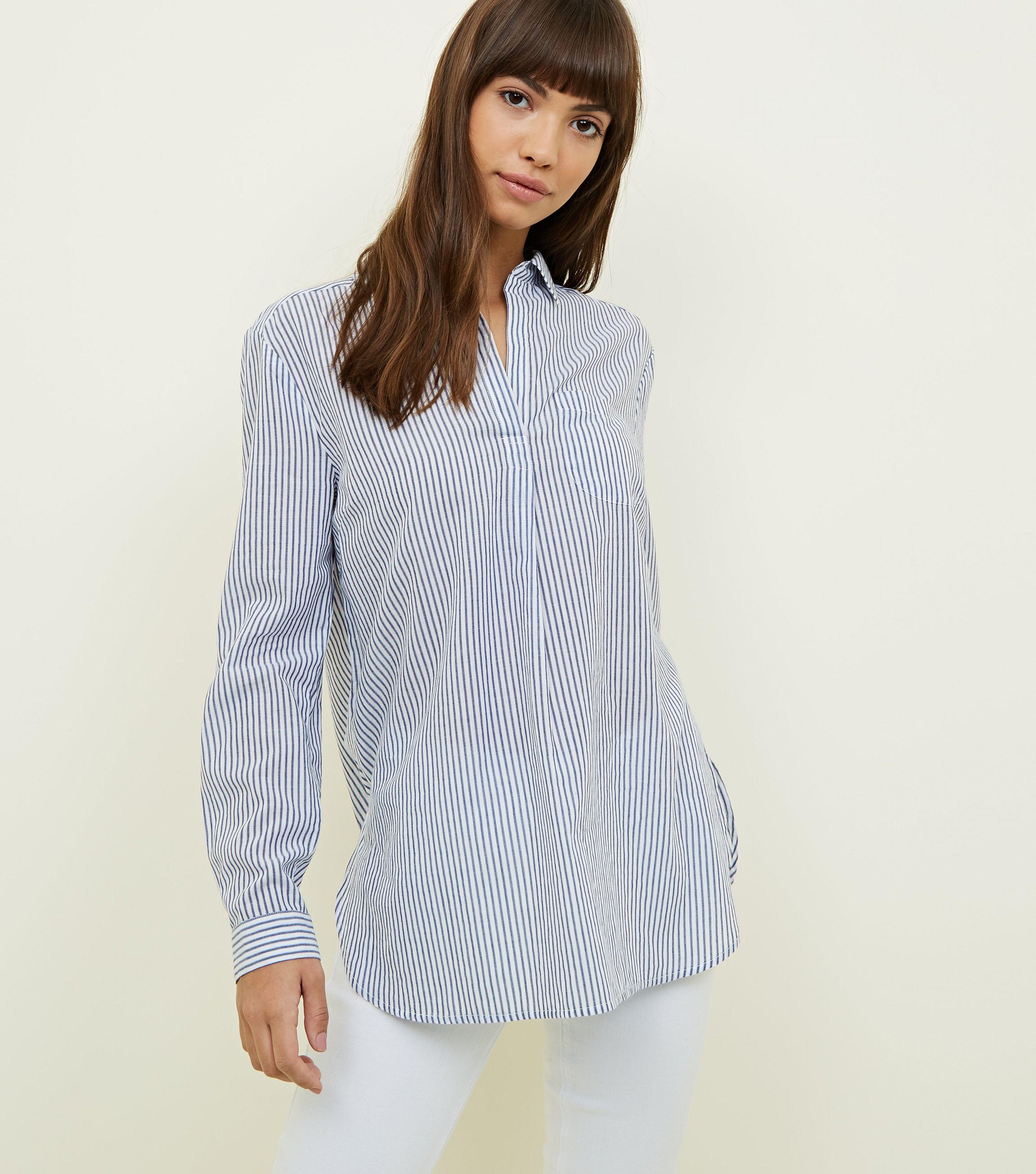 ecc09a0330 New Look Blue Stripe Long Sleeve Shirt in Blue - Lyst