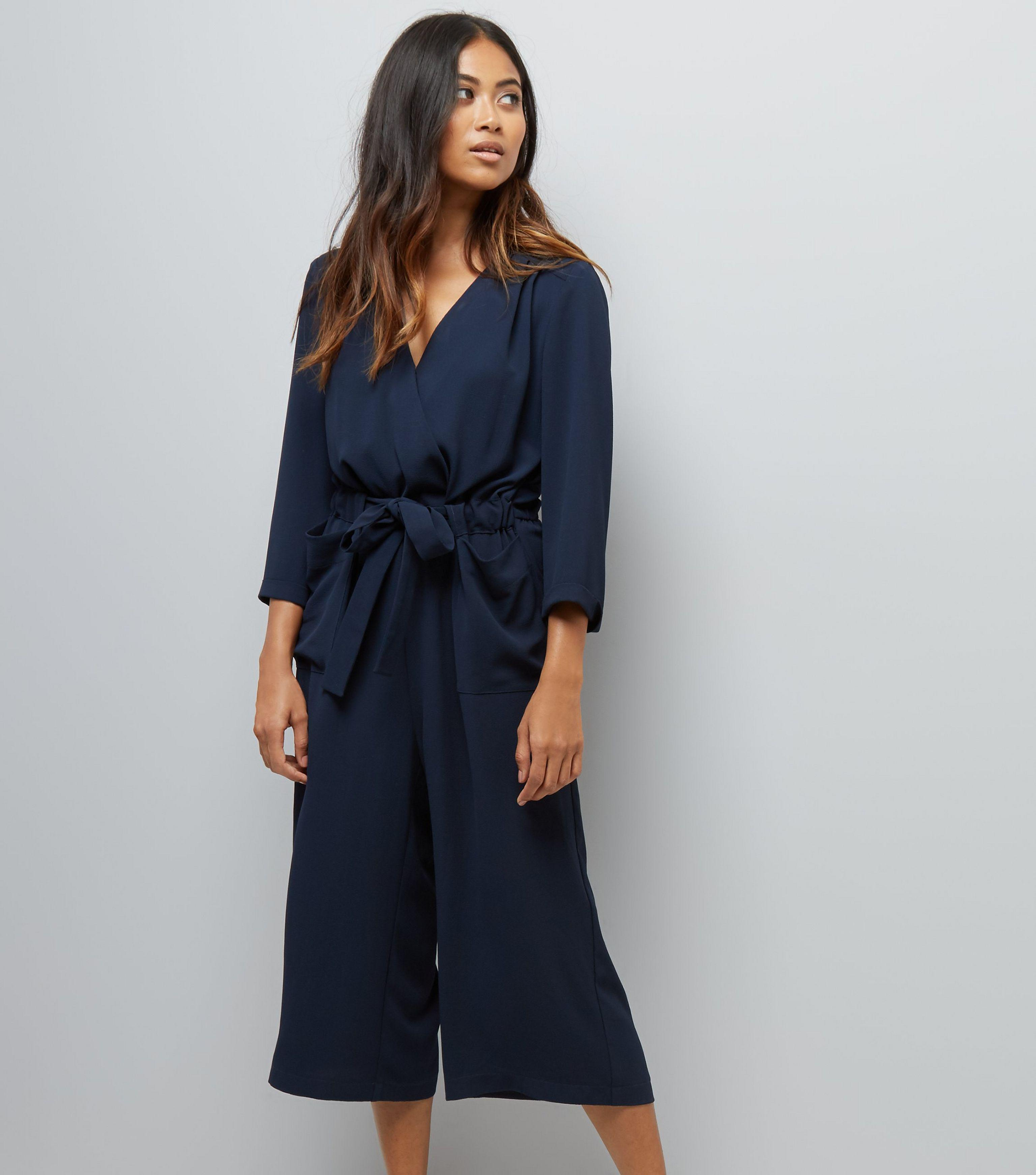 b422c14af7cf New Look Petite Navy Wrap Front Culotte Jumpsuit in Blue - Lyst