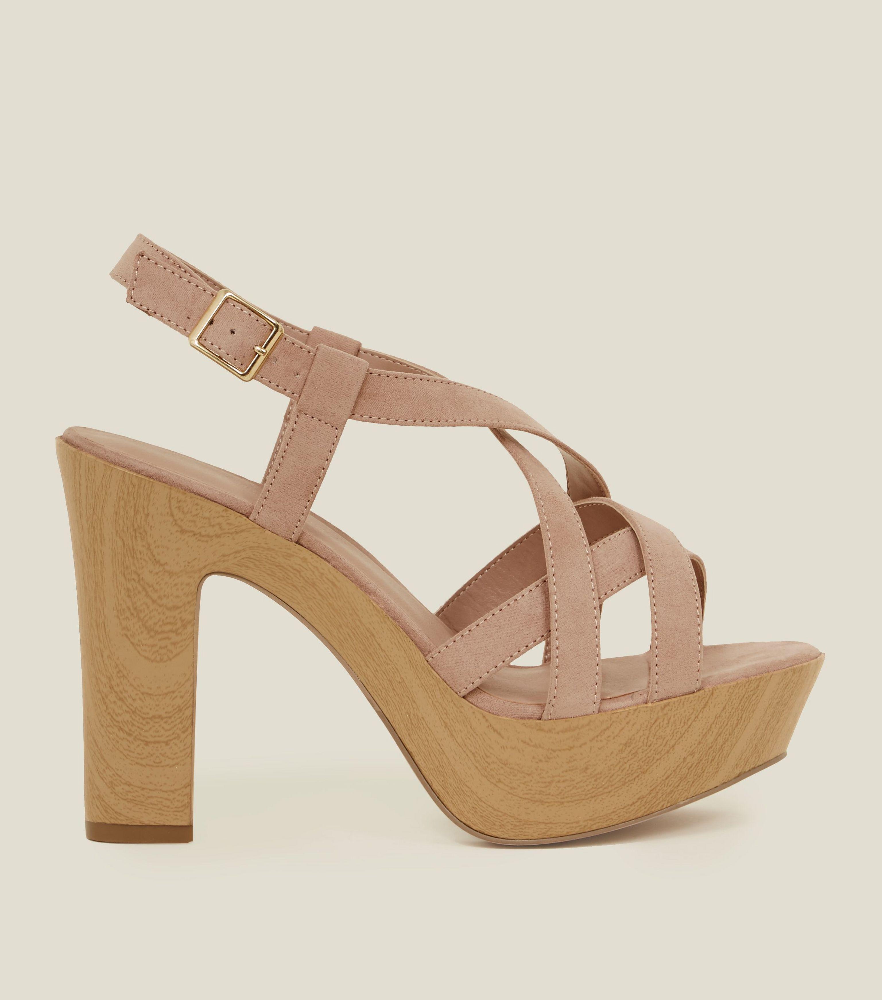 c47905ed030 New Look Wide Fit Nude Suedette Wood Platform Block Heels in Natural ...