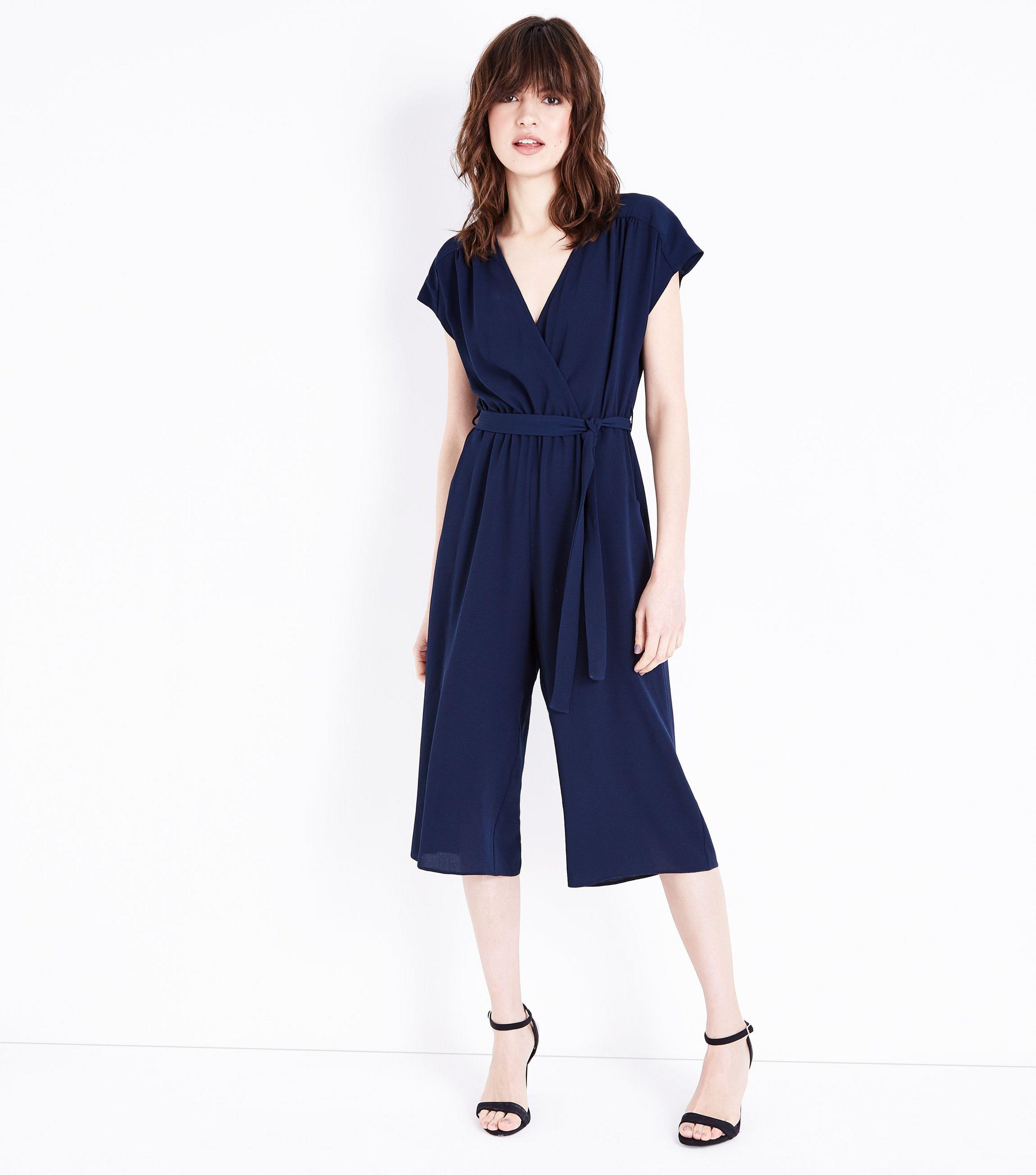 3ff0b161e225 New Look Navy Wrap Front Culotte Jumpsuit in Blue - Lyst