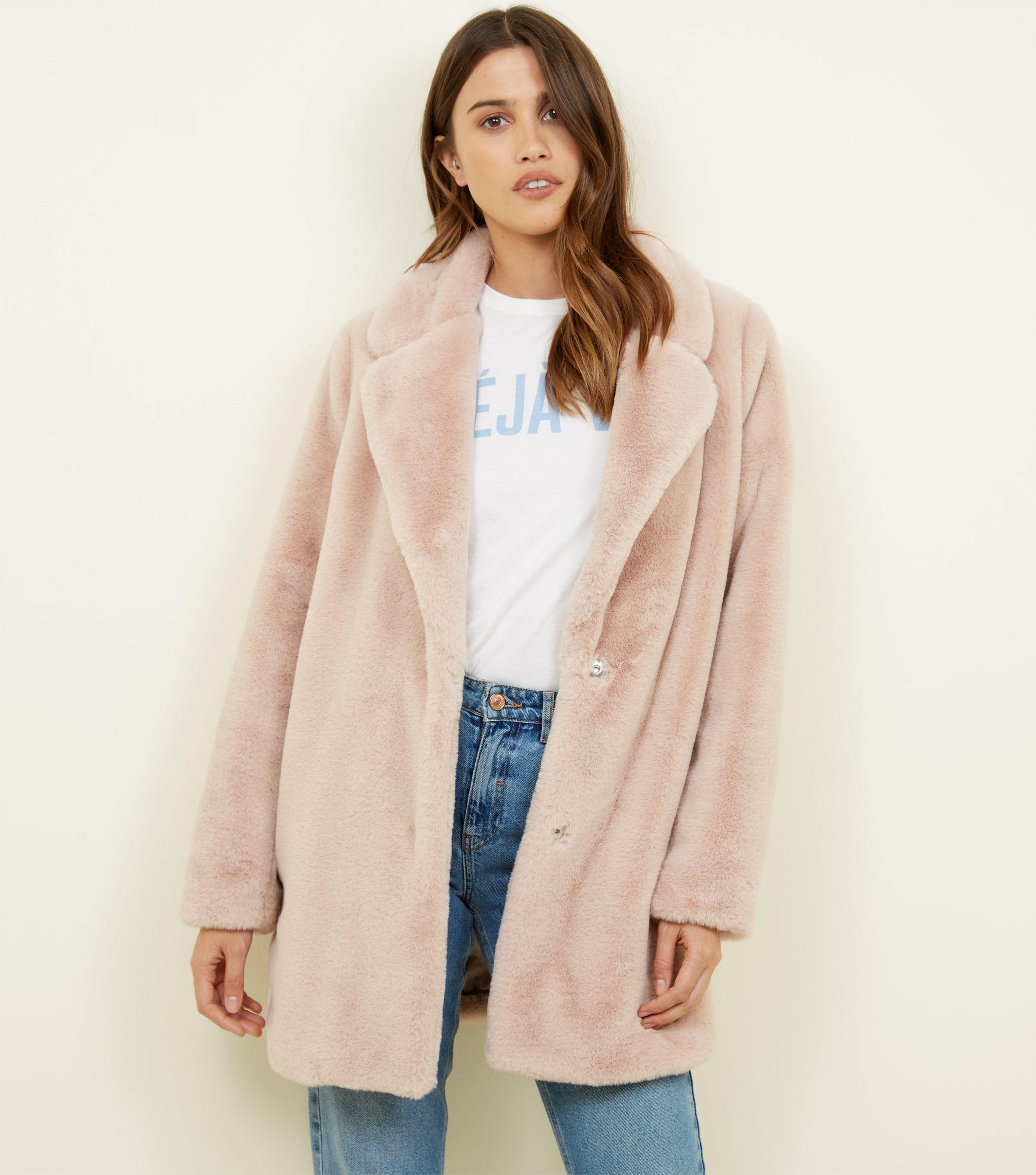 93df9c98e208 New Look Pale Pink Faux Fur Longline Coat in Pink - Lyst
