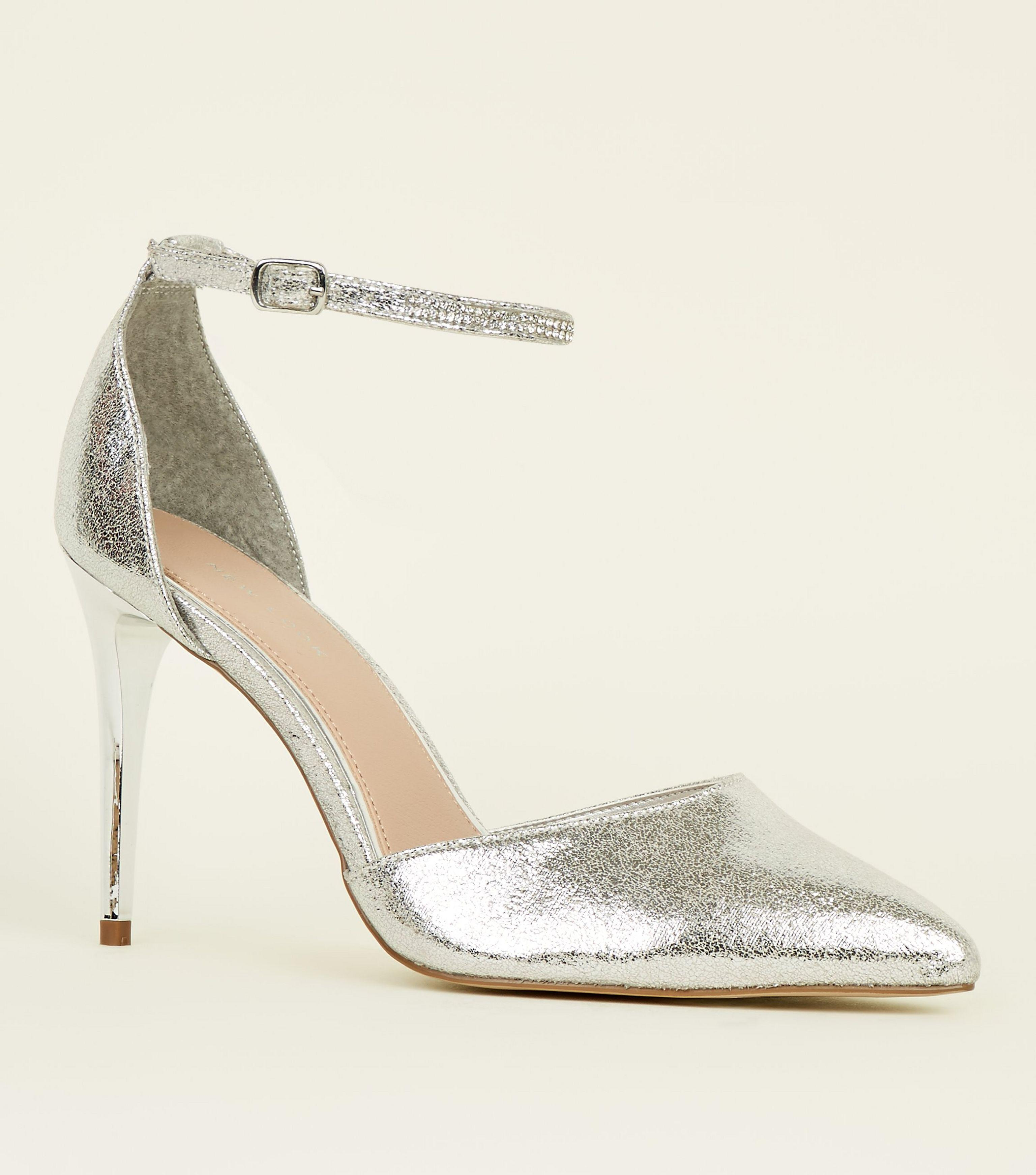d5a0afead9 New Look Silver Diamanté Strap Pointed Stiletto Heels in Metallic - Lyst