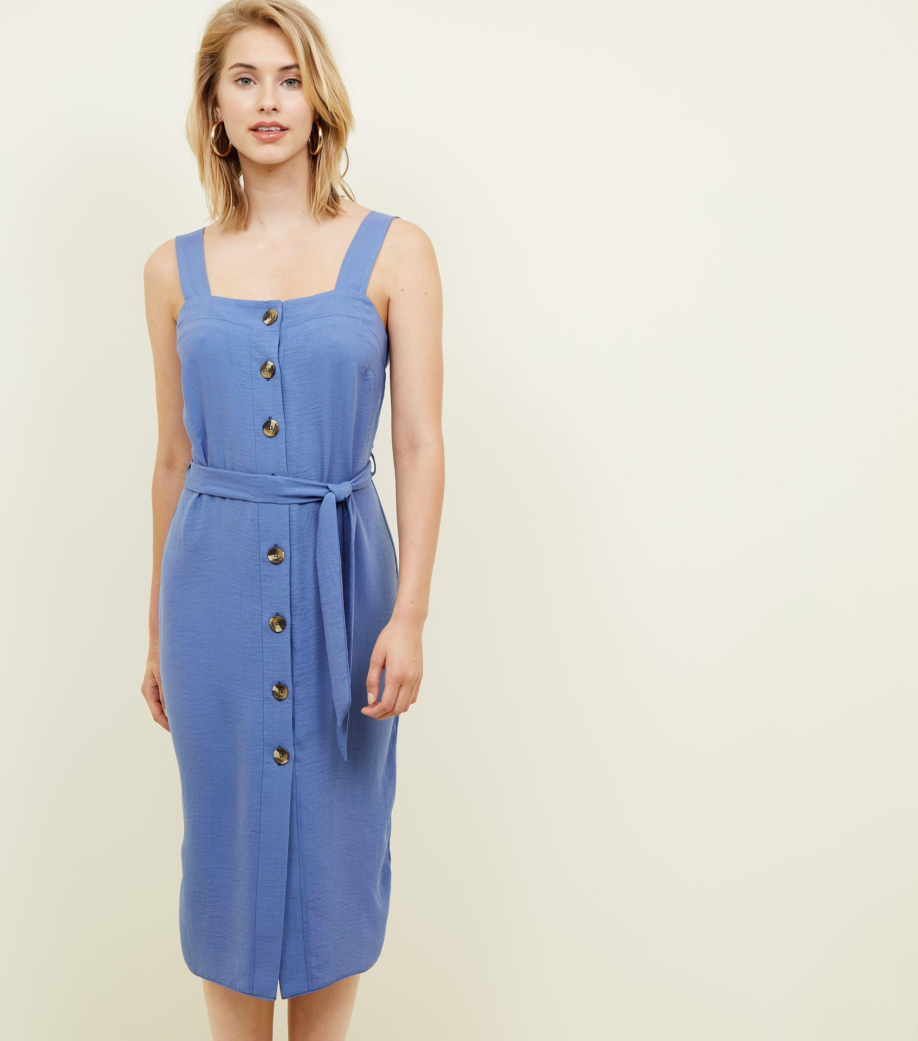 9c11e2e7c4b New Look Bright Blue Button Up Belted Linen-look Midi Dress in Blue ...