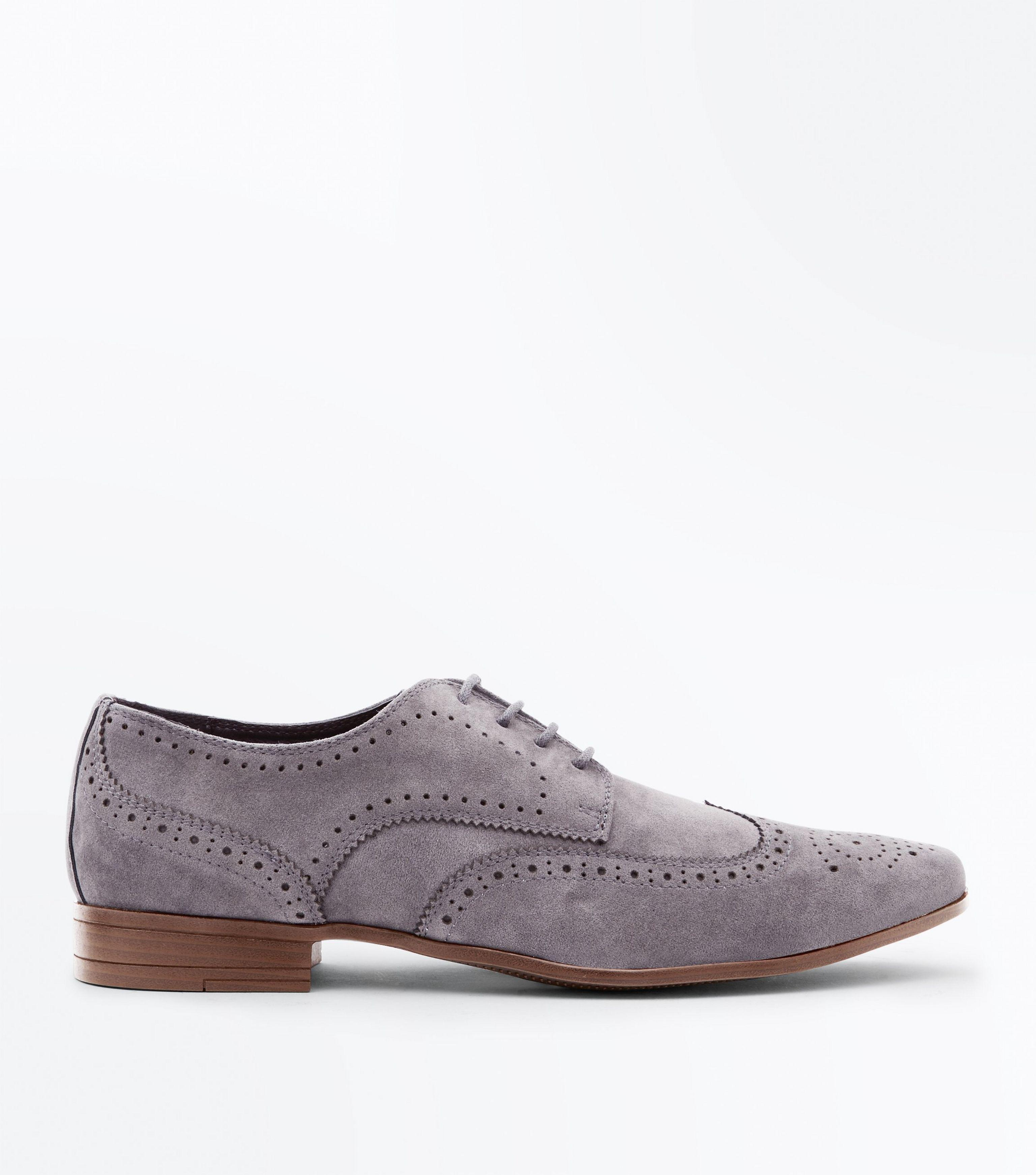 New Look faux suede brogue in grey discount professional purchase for sale xuzdYJoz