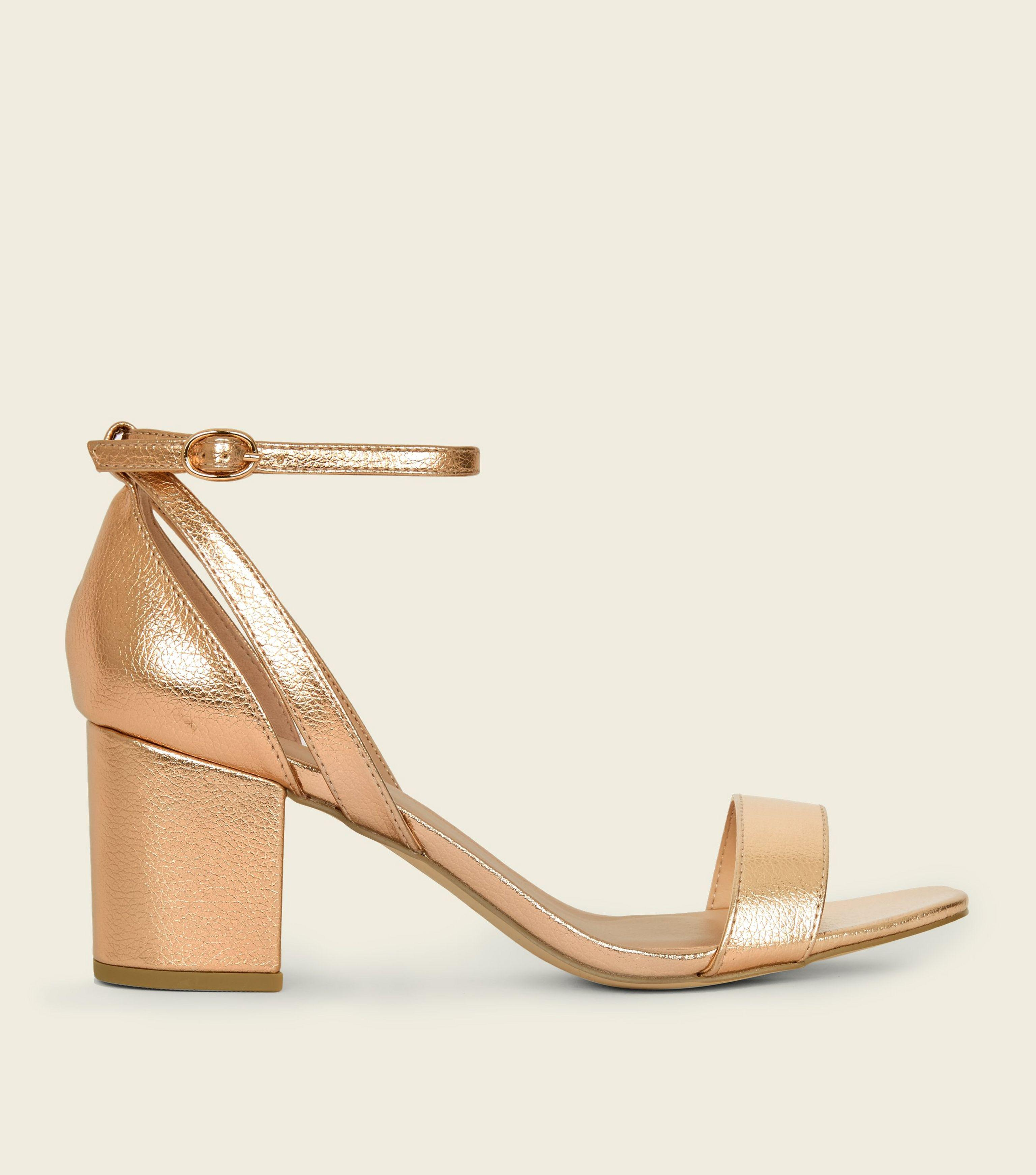 880a5afbde0 New Look Wide Fit Rose Gold Cut Out Mid Heel Sandals - Lyst