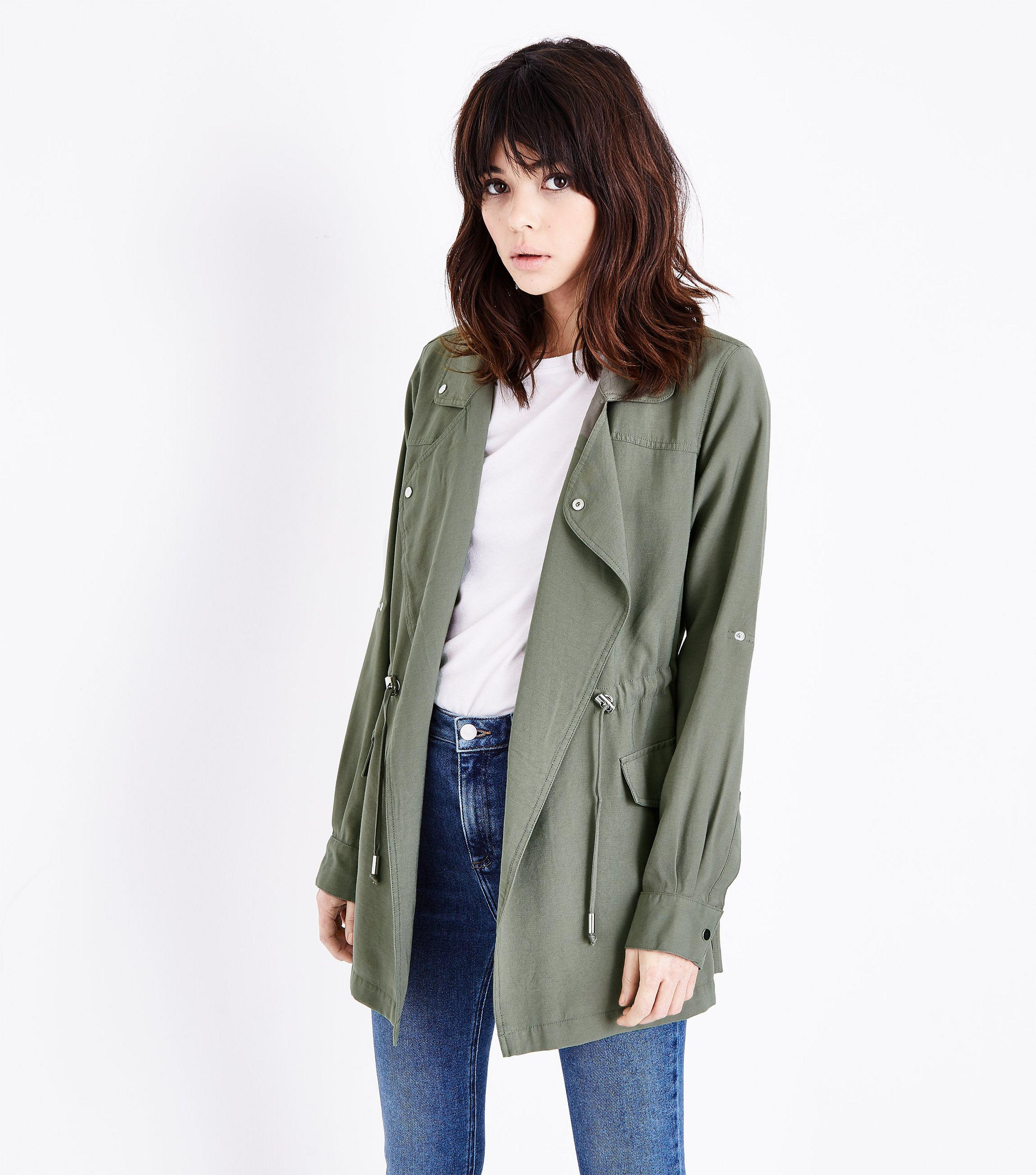 New Look Olive Green Waterfall Shacket In Green Lyst