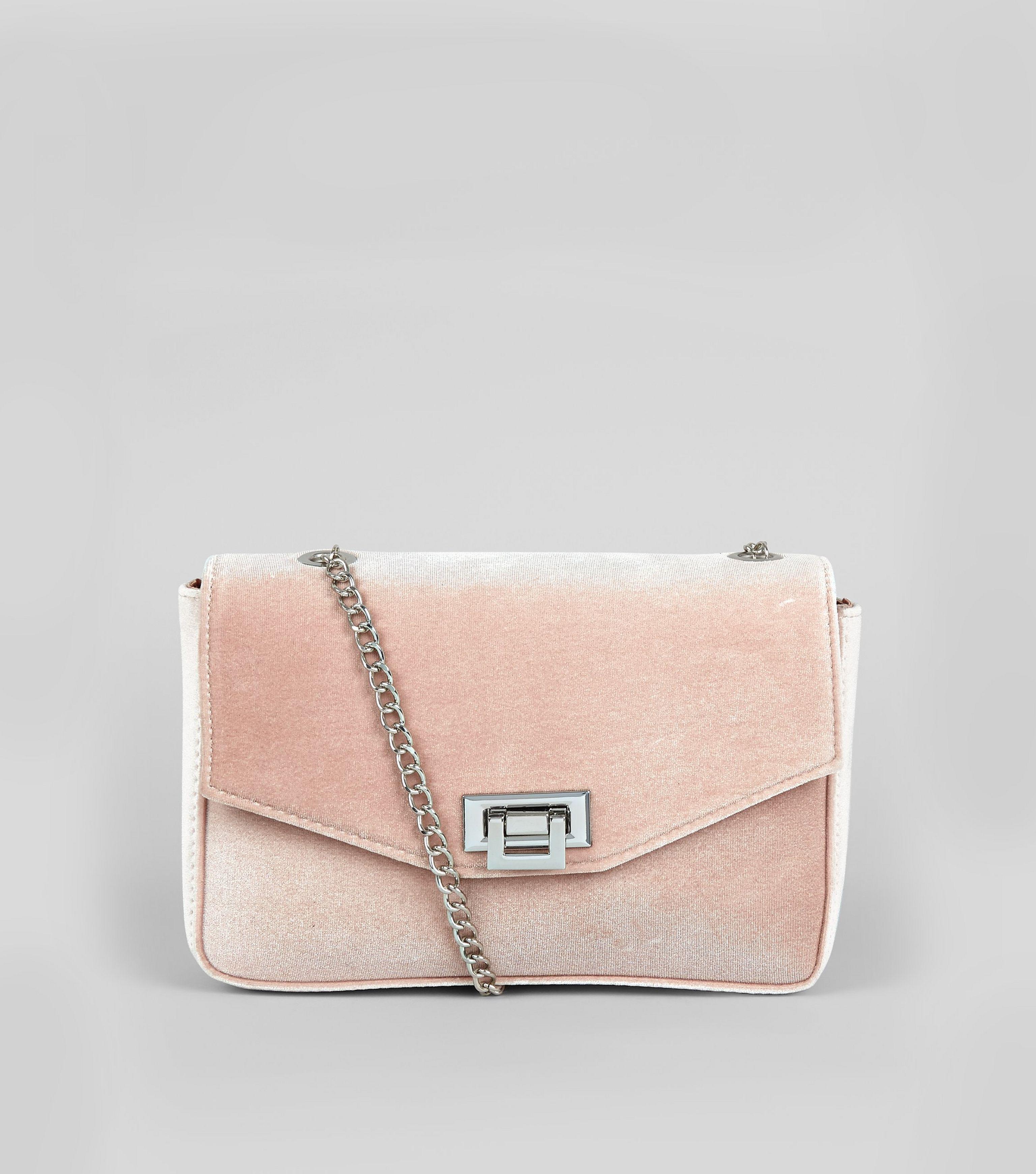 New Look Pink Velvet Lock Front Shoulder Bag in Pink - Lyst ea02ae27f8