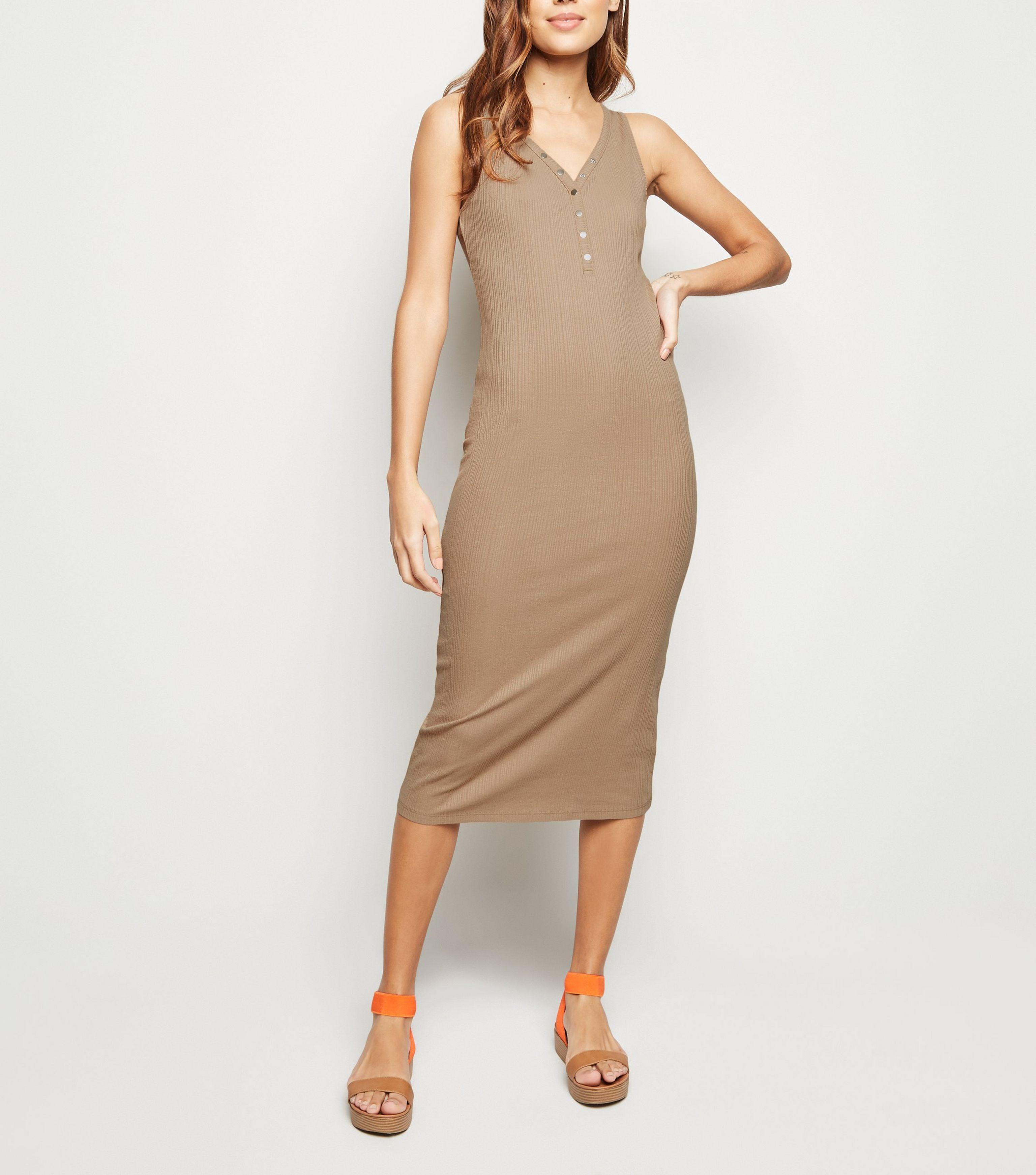 e5a3b7480a New Look Stone Ribbed Popper Midi Bodycon Dress in Natural - Lyst