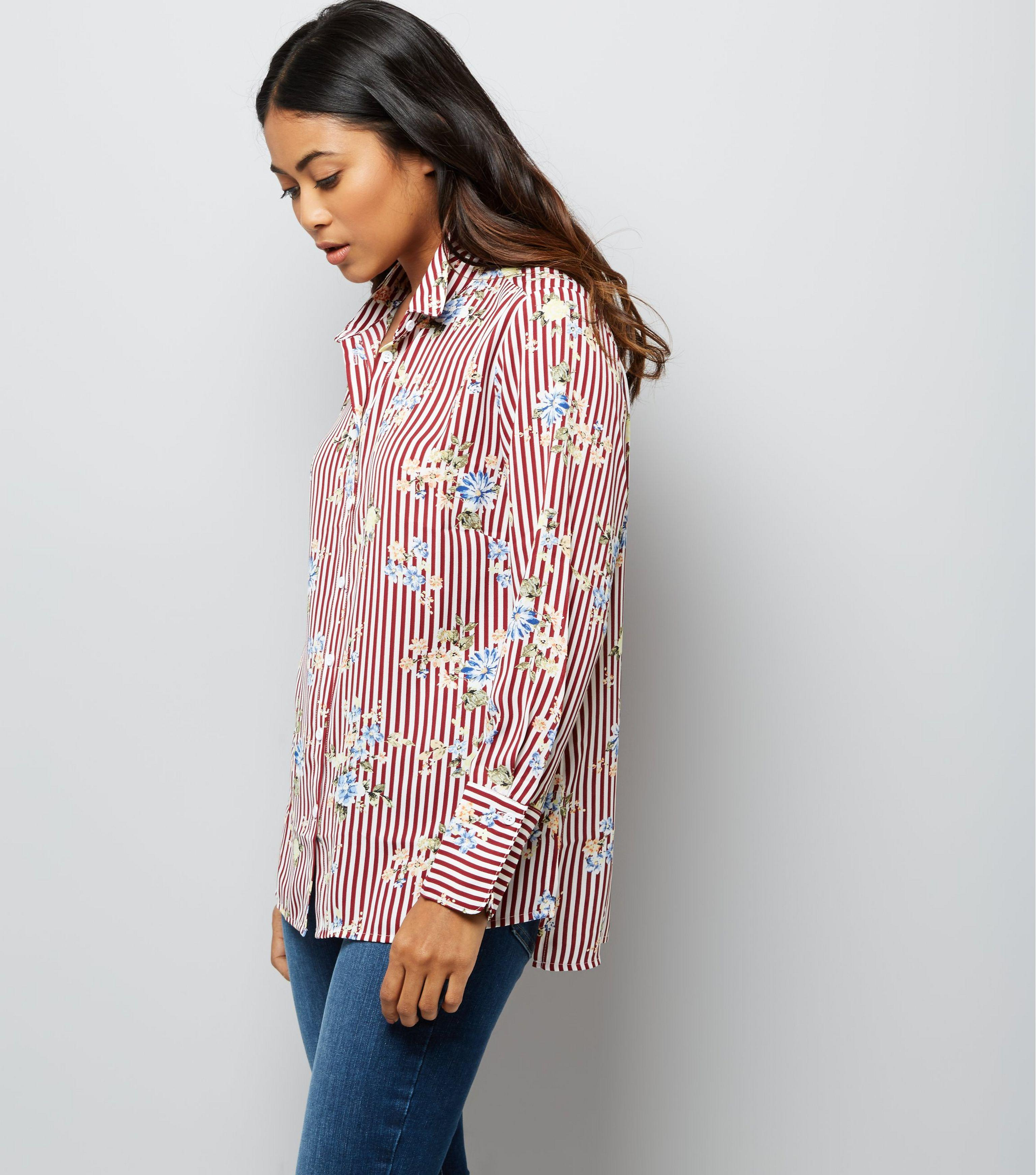 ea2dd062f46f7a New Look Petite Red Stripe Floral Print Shirt in Red - Lyst