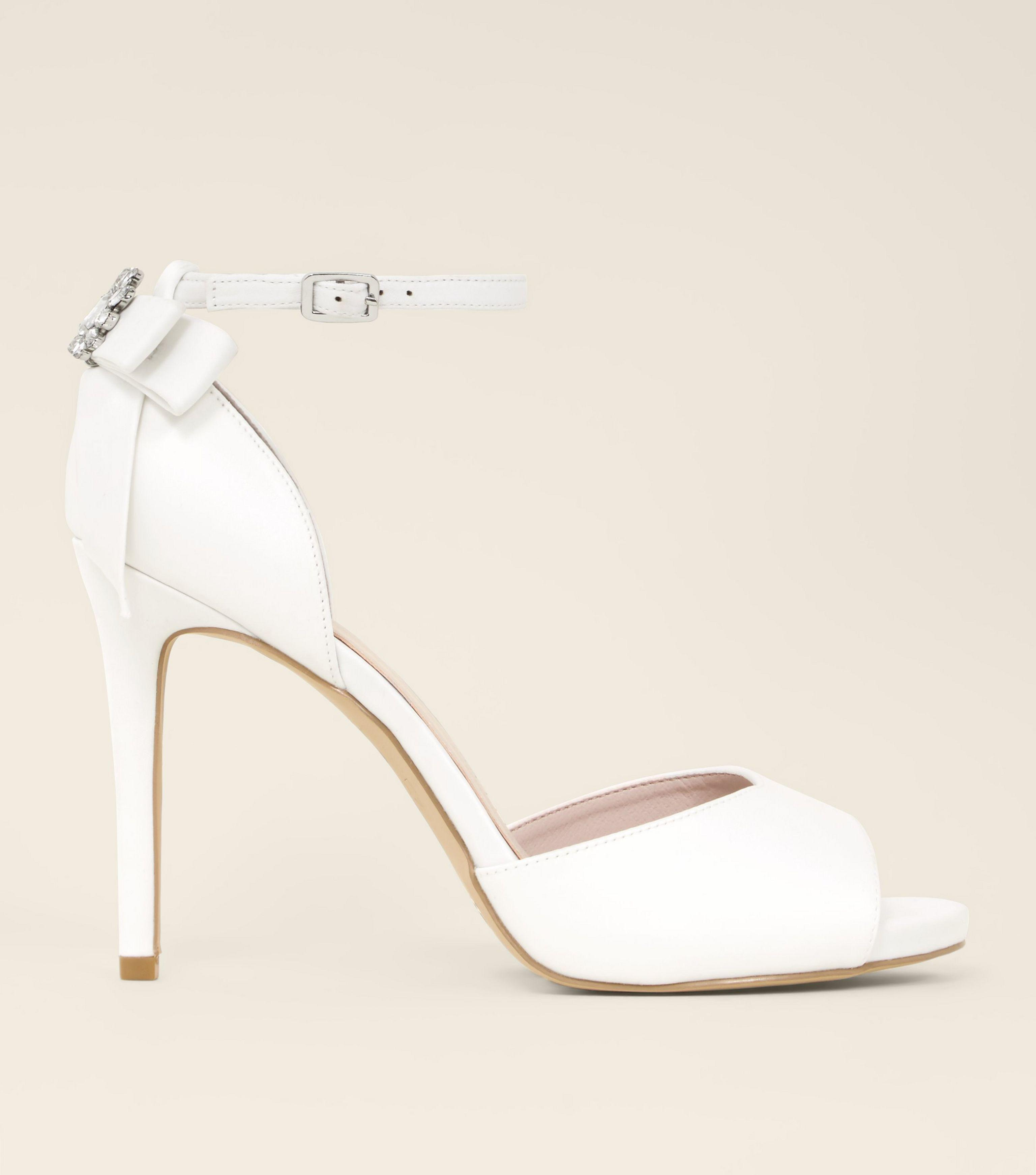 72c093896128 New Look Wide Fit White Satin Bow Back Peep Toe Wedding Sandals in ...