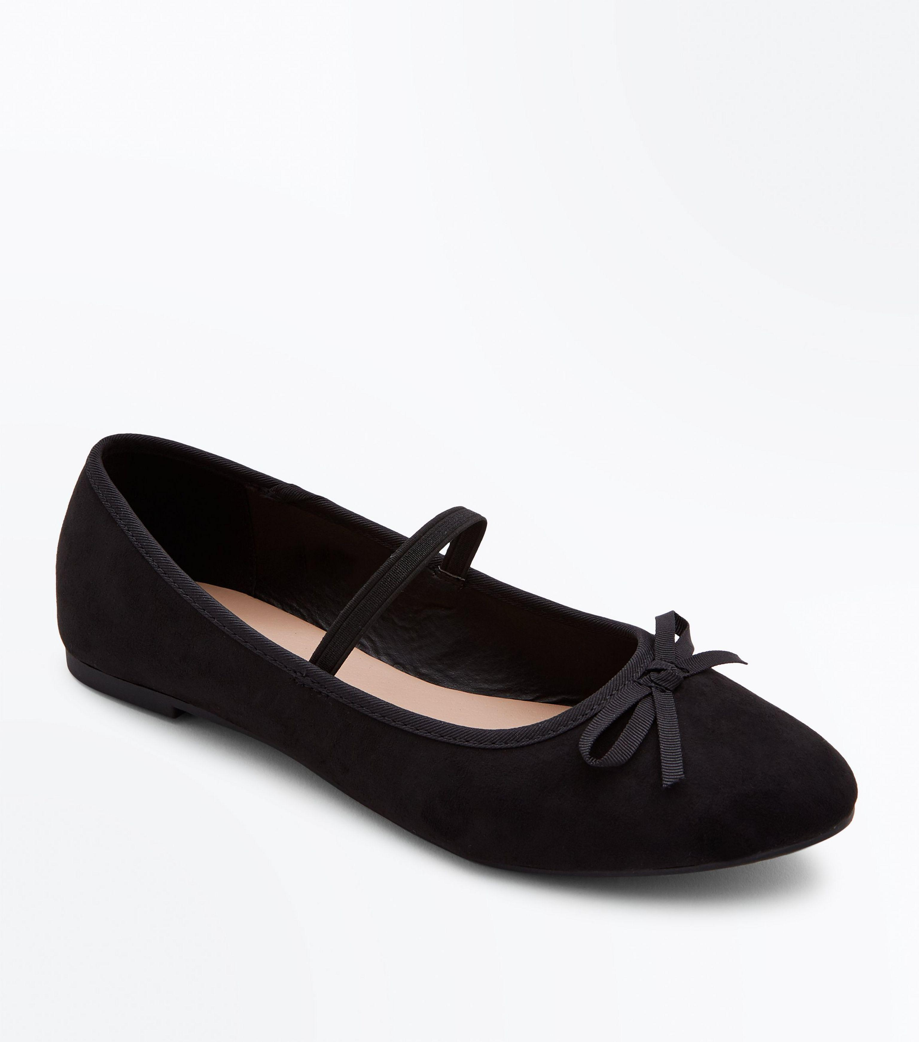 c0fd03232c New Look Girls Black Suedette Bow Front Strap Ballet Pumps in Black ...
