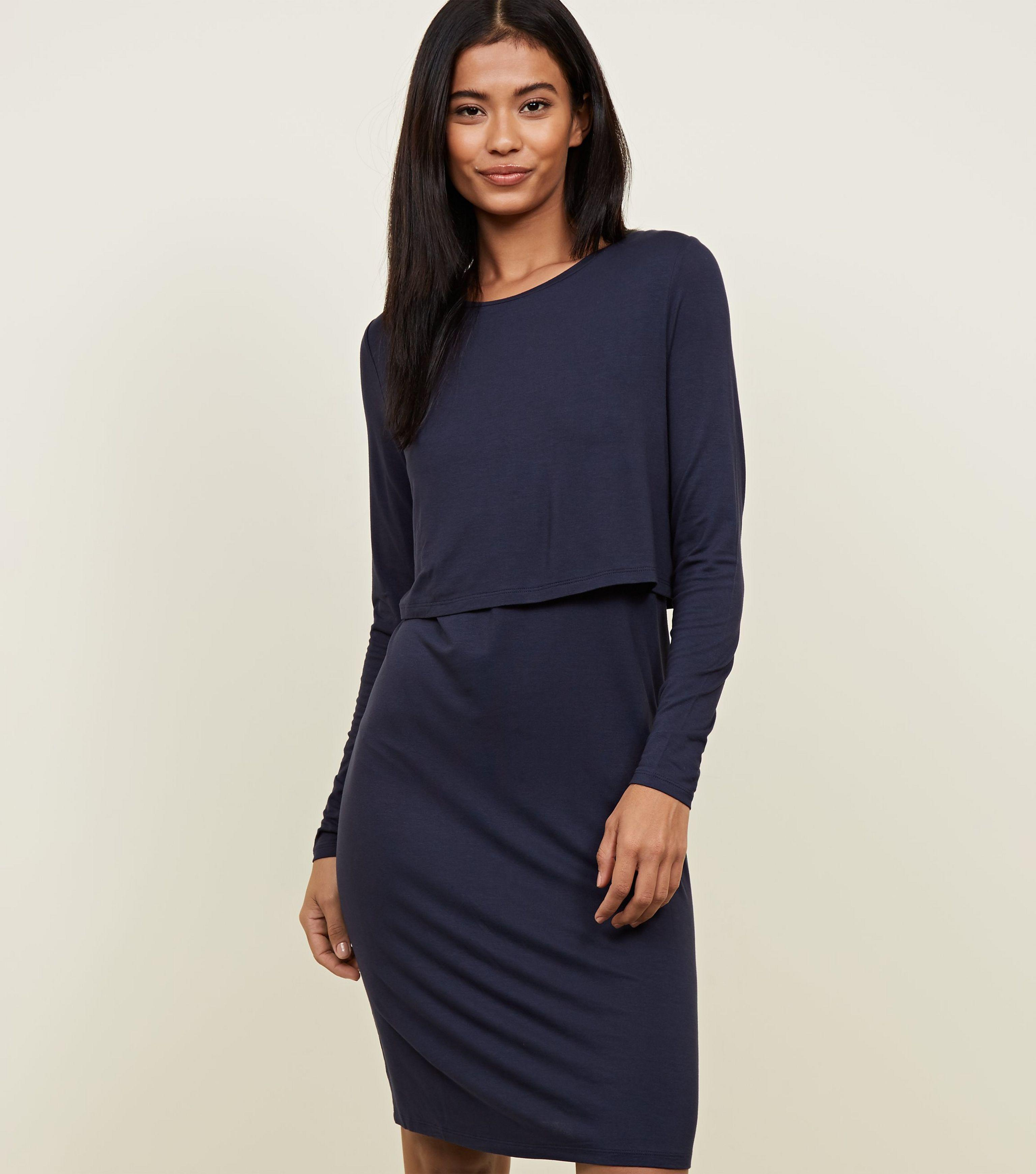 3e3c45a812d47 New Look Maternity Navy Long Sleeve Layered Nursing Dress in Blue - Lyst