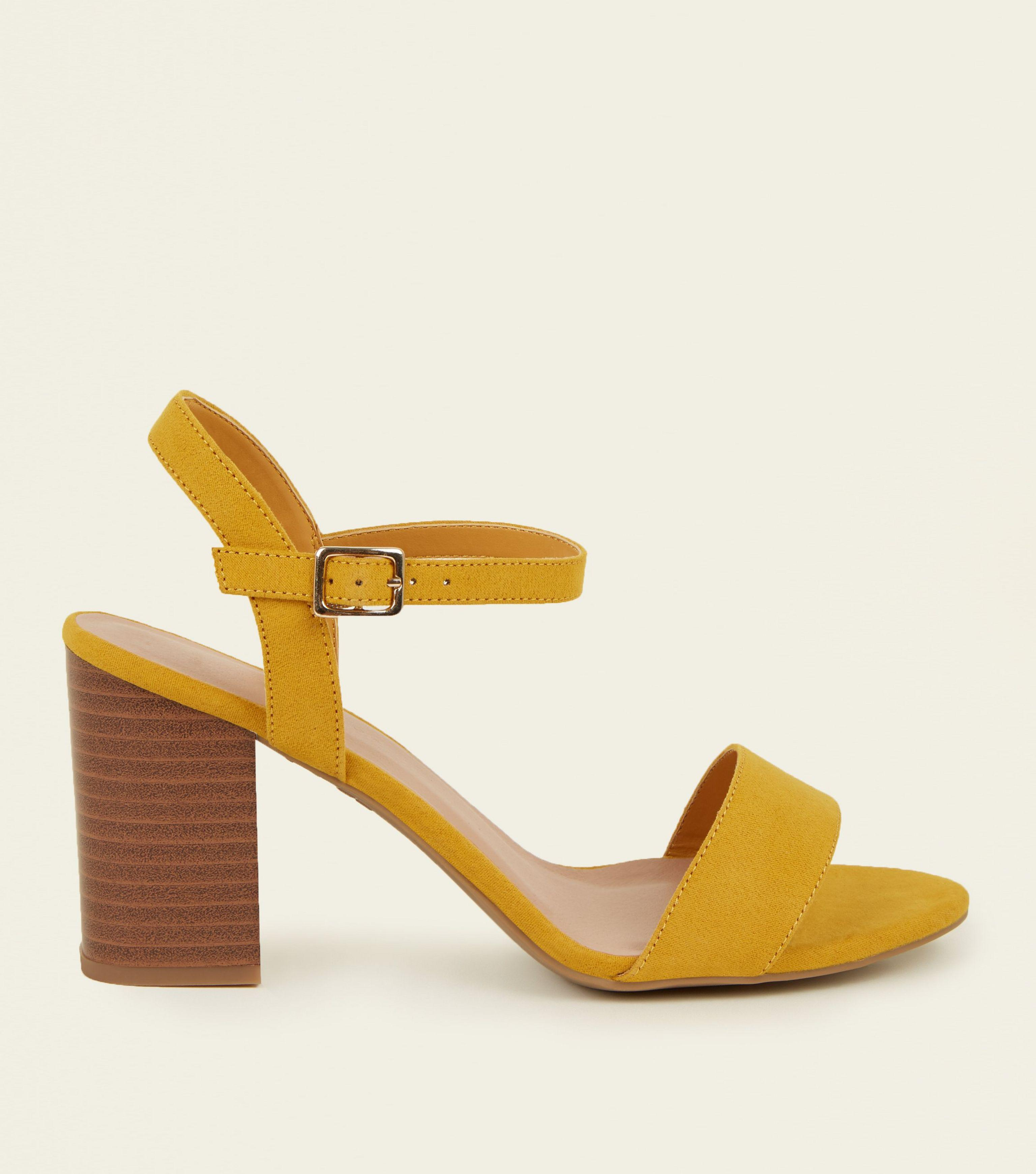 dd6d66d9a1a9 New Look Wide Fit Mustard Suedette Wood Heel Sandals in Yellow - Lyst